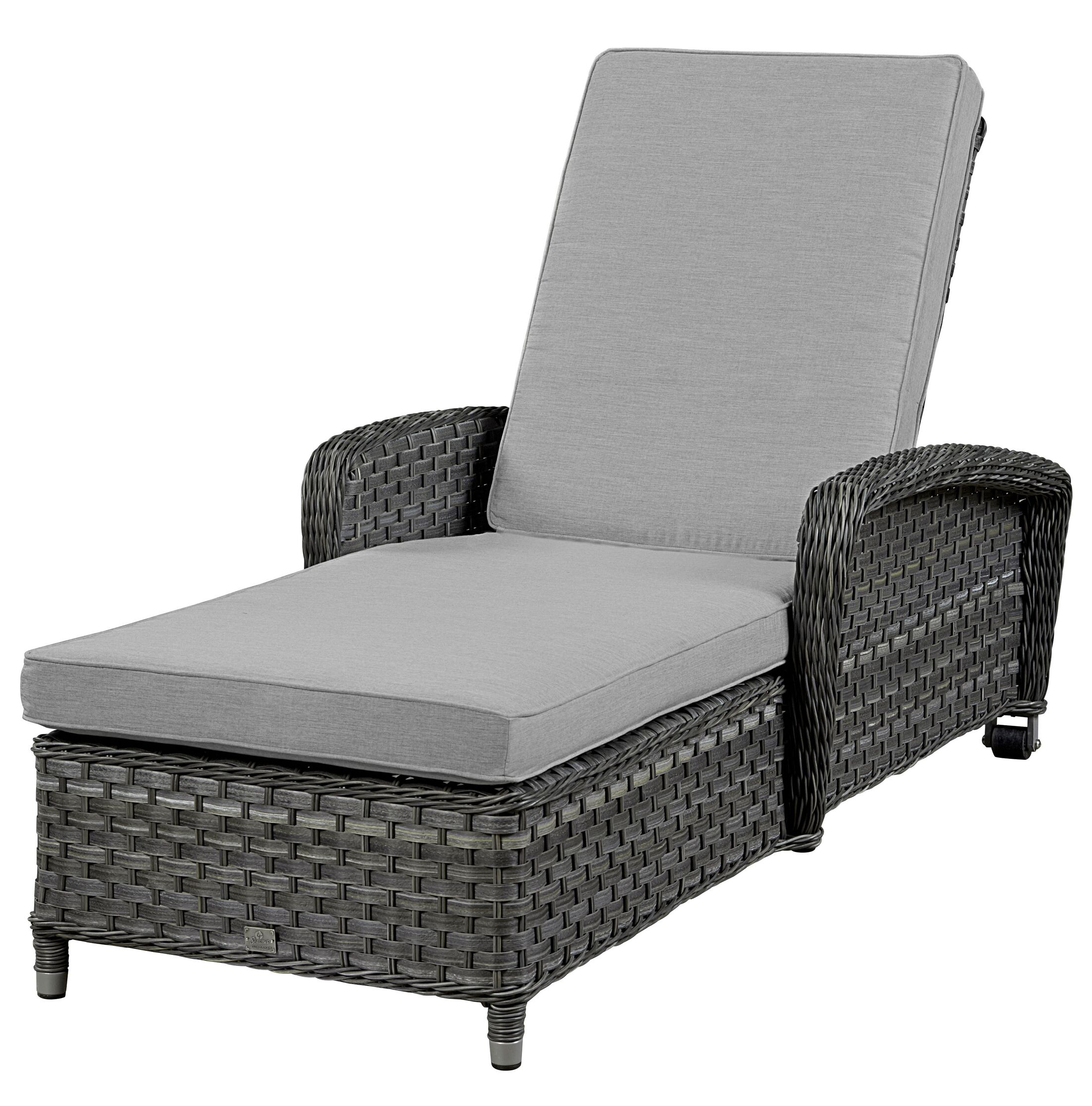 Chaise Lounge with Cushion Frame Finish: Grey, Fabric: Flagship Mist