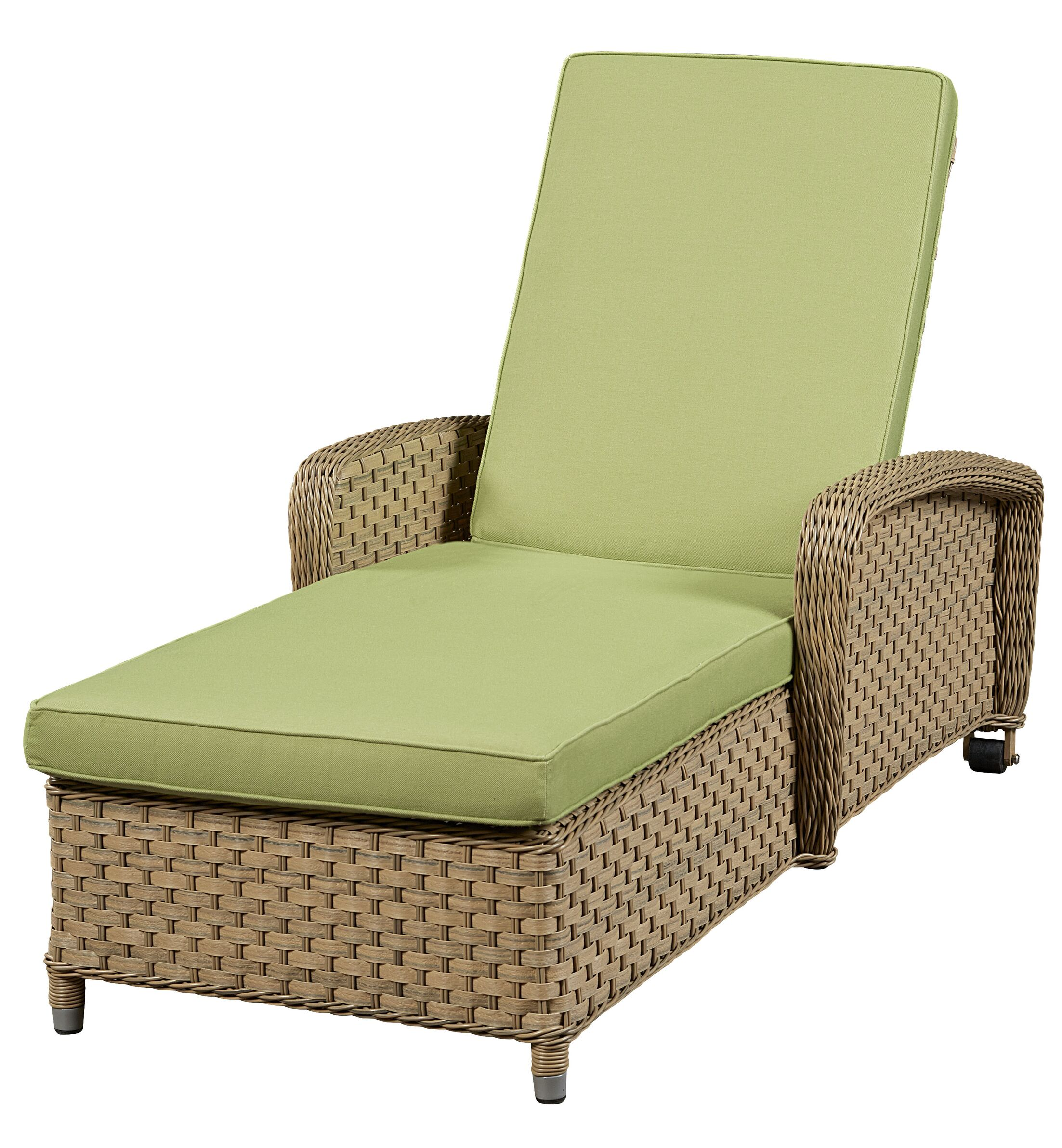 Chaise Lounge with Cushion Frame Finish: Natural, Fabric: Meridian Coco