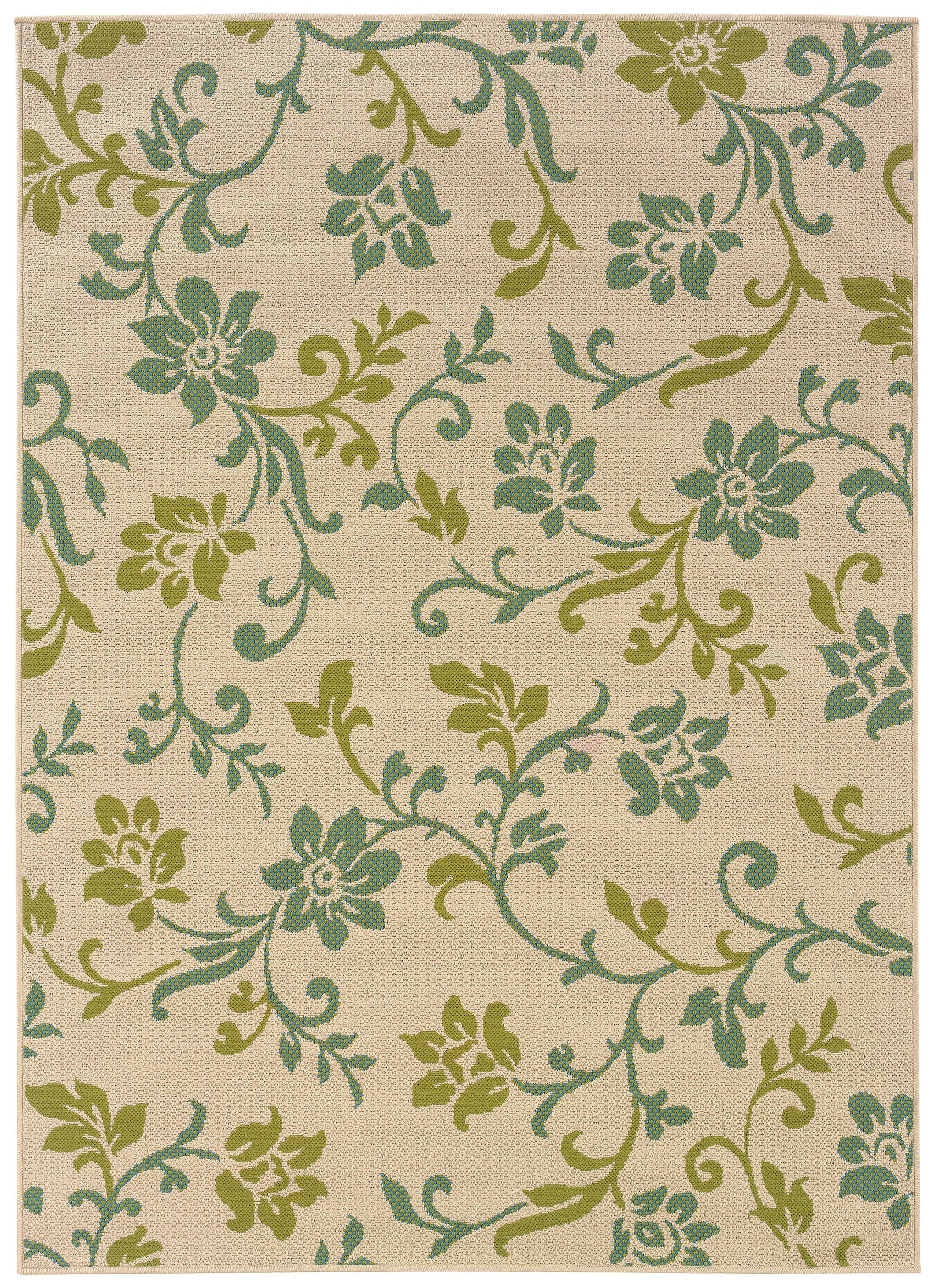 Newfield Ivory/Green Indoor/Outdoor Area Rug Rug Size: Rectangle 7'10