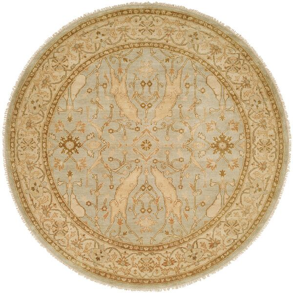 Williamshile Hand-Knotted Light Blue/Beige Area Rug Rug Size: Rectangle 8' x 10'