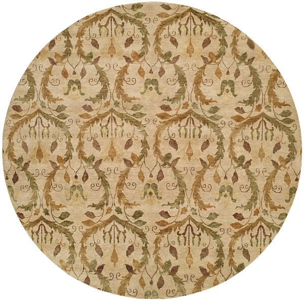 Hand-Knotted Beige Area Rug Rug Size: Square 10'