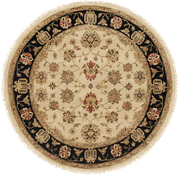 Vladivostok Hand-Knotted Ivory/Brown Area Rug Rug Size: Rectangle 3' x 5'