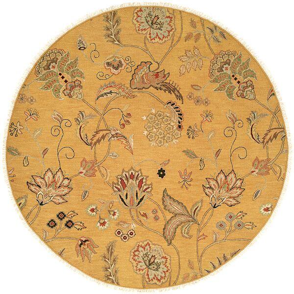 Yanbu Hand-Woven Beige Area Rug Rug Size: Round 8'