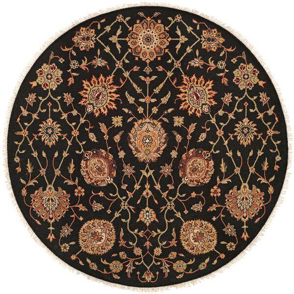 San Lorenzo Hand-Woven Black/Brown Area Rug Rug Size: Round 6'