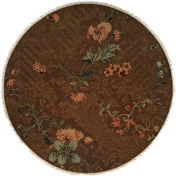 Tabaco Hand-Woven Brown Area Rug Rug Size: Round 8'