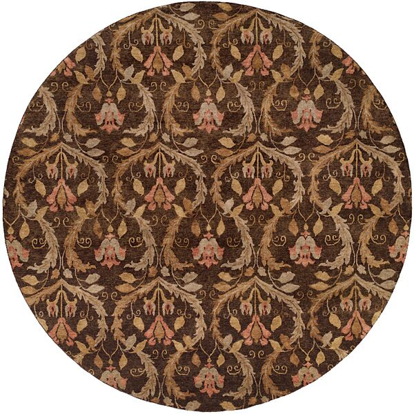 Corinto Hand-Knotted Brown Area Rug Rug Size: Square 6'