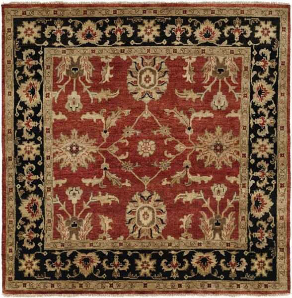 Chile Hand-Knotted Rust/Black Area Rug Rug Size: Square 6'