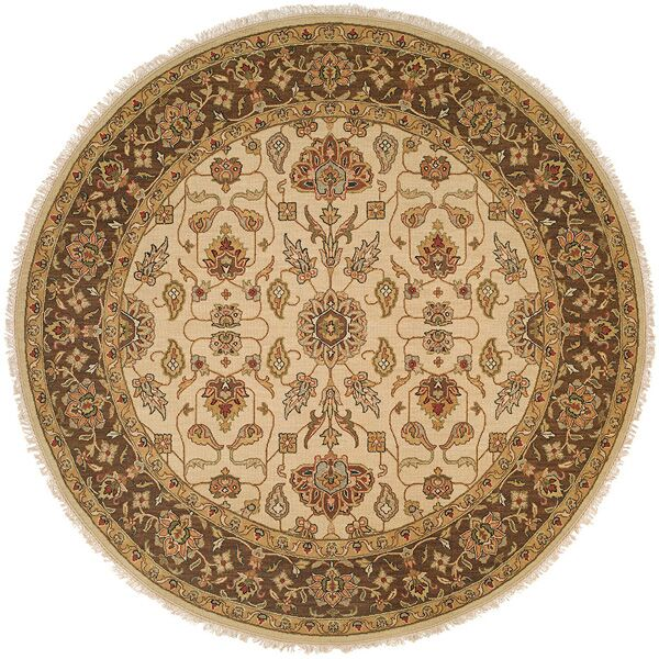Townsville Hand-Woven Ivory/Brown Area Rug Rug Size: Round 8'