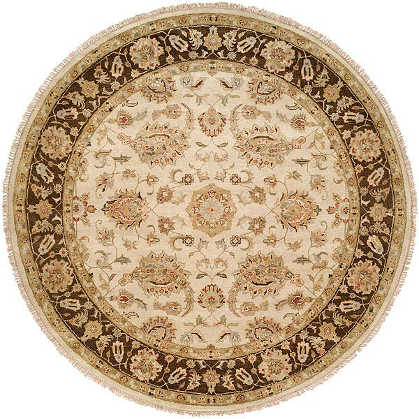 Ali Hand-Knotted Ivory/Brown Area Rug Rug Size: Round 8'