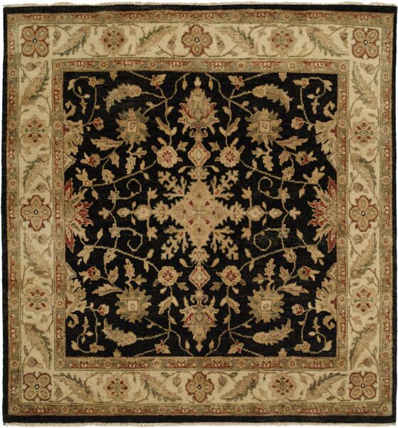 Wuhan Hand-Knotted Black/Ivory Area Rug Rug Size: Square 6'