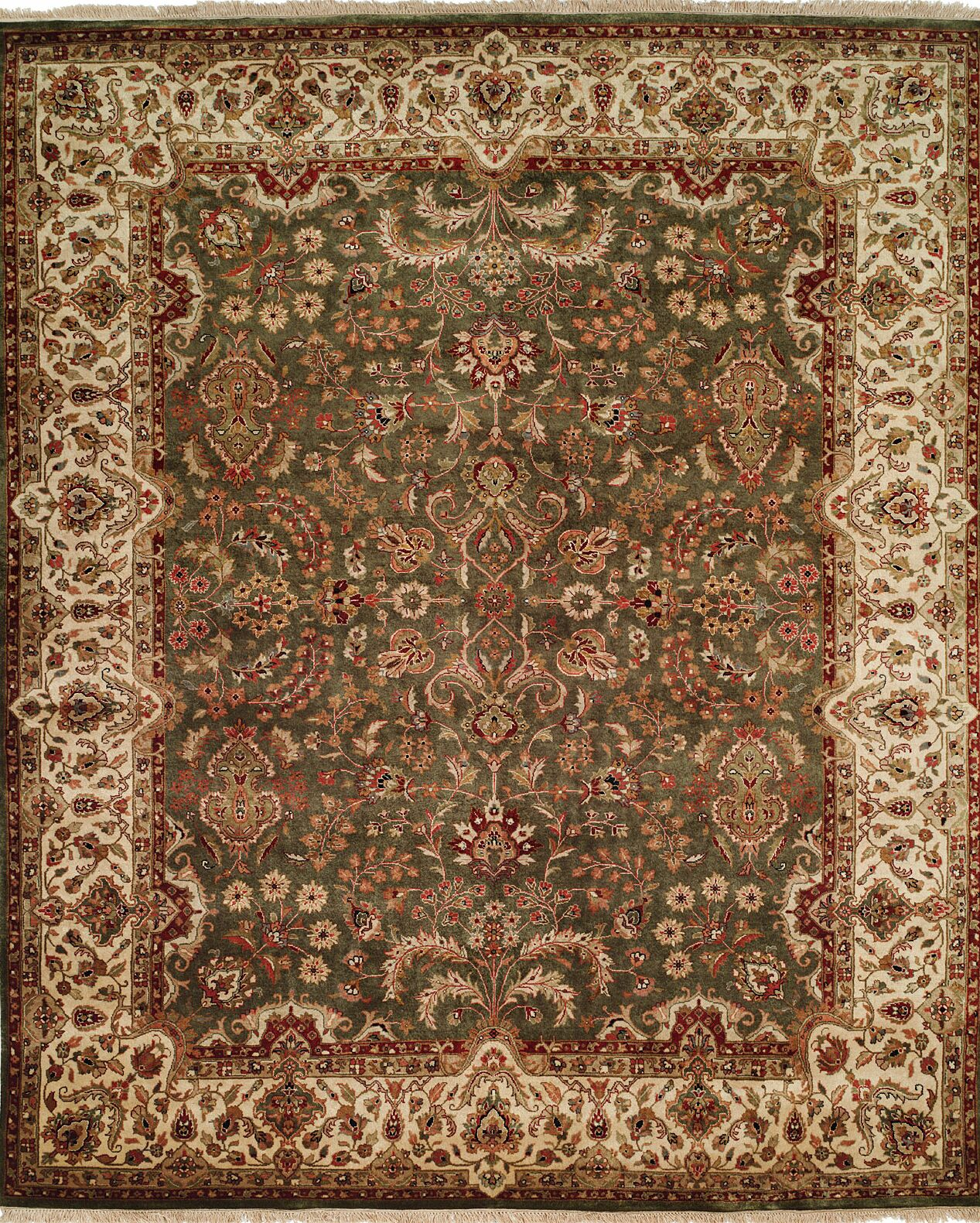 Hand-Knotted Brown/Green Area Rug Rug Size: Round 10'