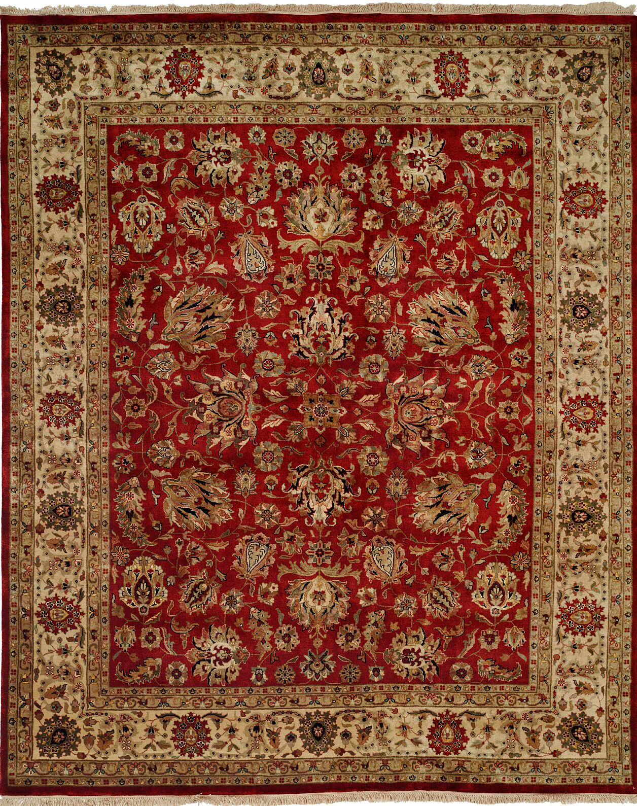 Hand-Knotted Red/Beige Area Rug Rug Size: Rectangle 6' x 9'