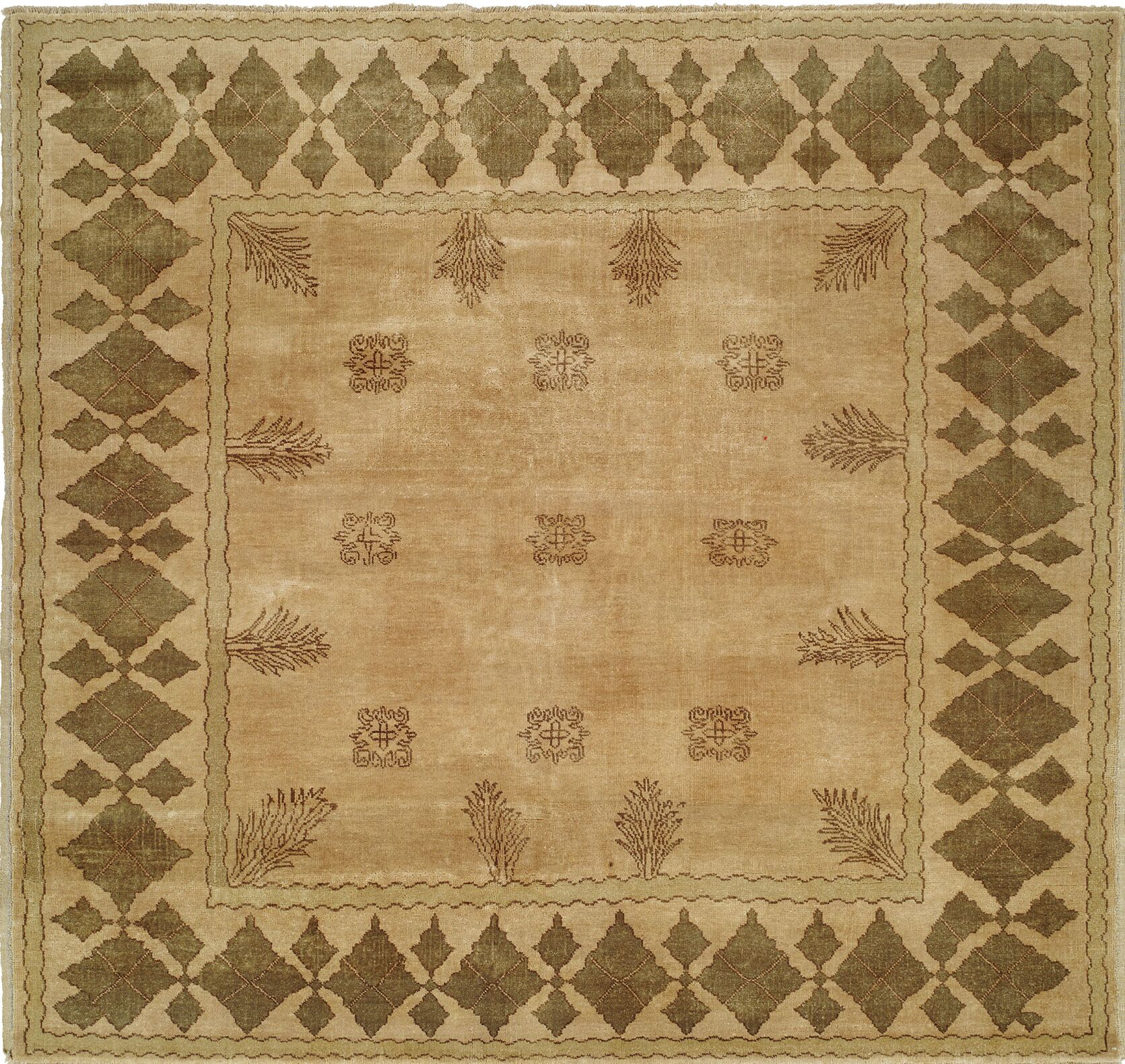 Hand-Knotted Beige/Brown Area Rug Rug Size: 2' x 3'