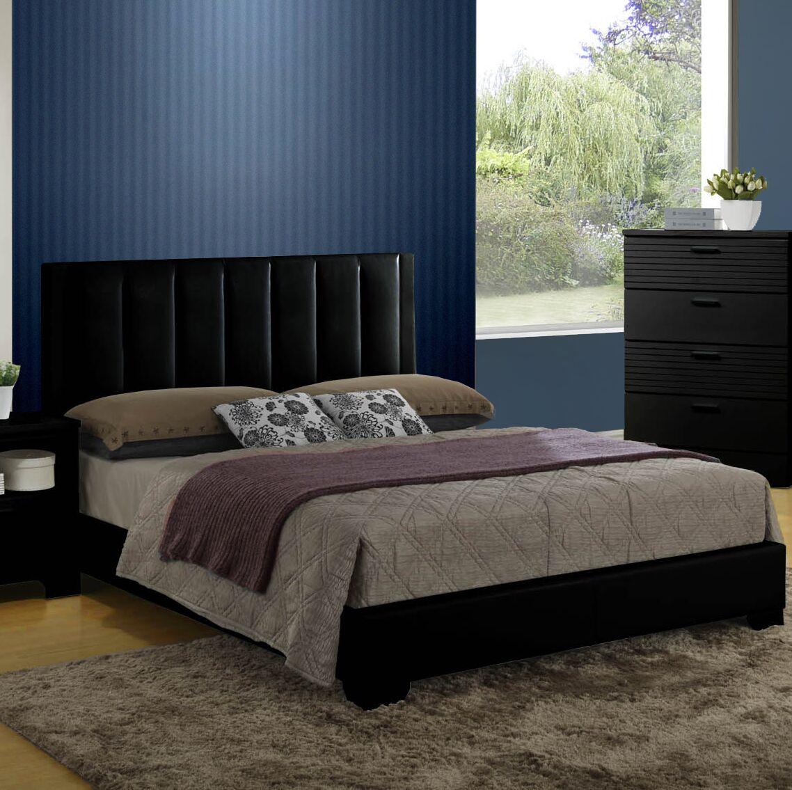 Moderno Upholstered Platform Bed Color: Black, Size: Queen