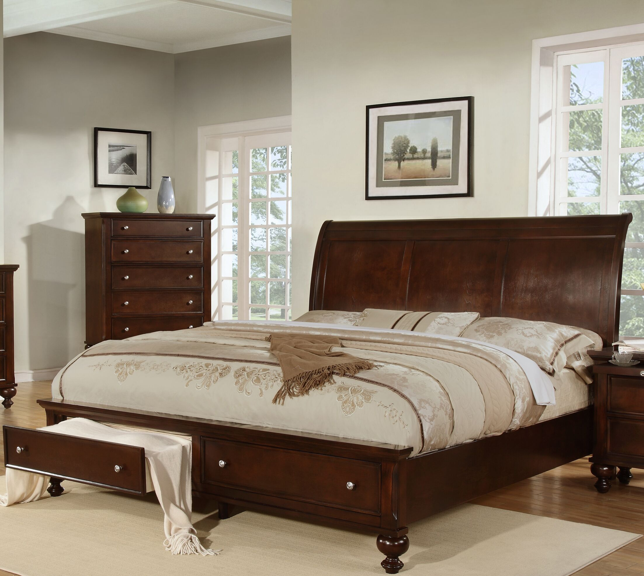 Asher Storage Sleigh Bed Size: King