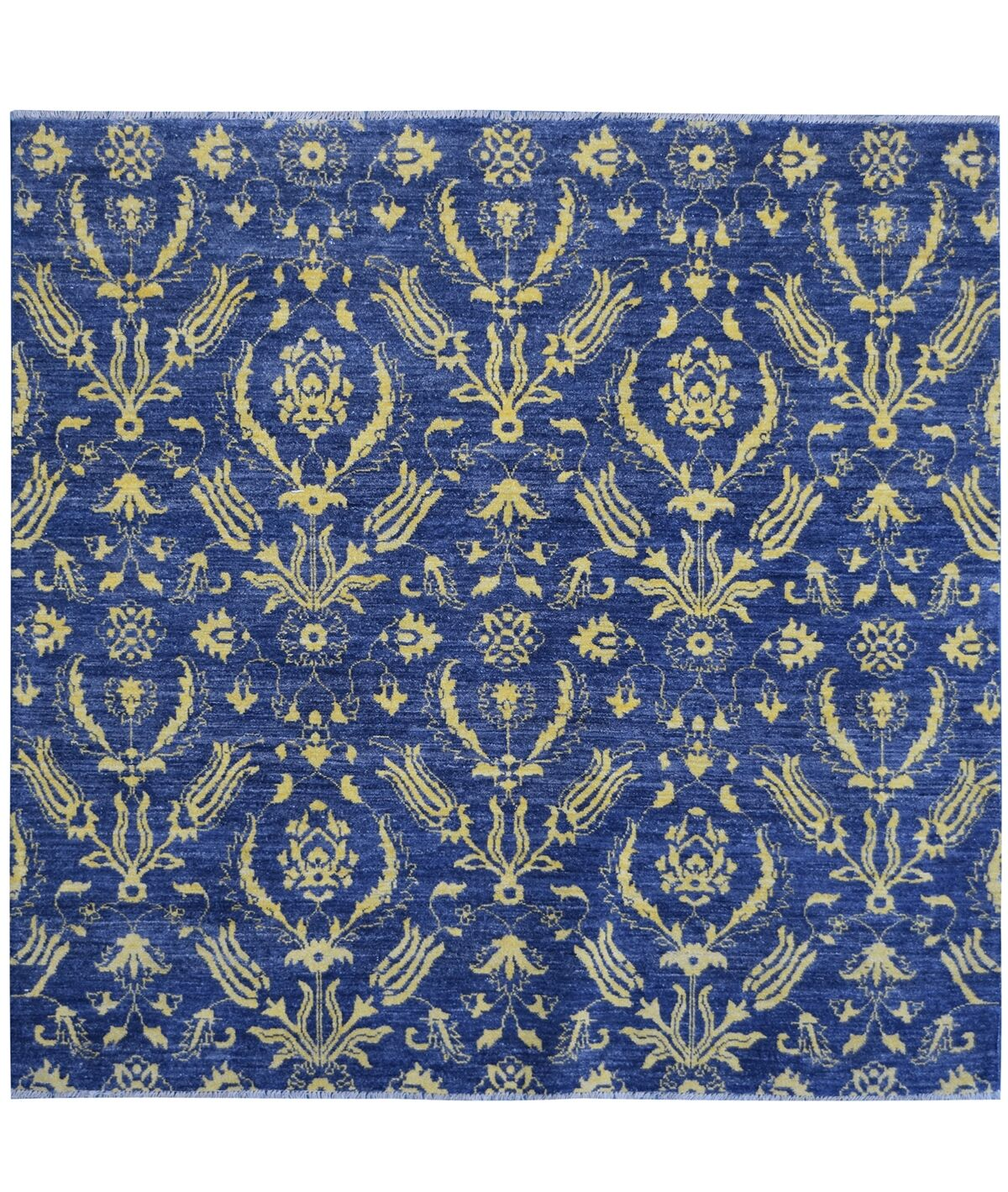 Hand-Knotted Blue/Yellow Area Rug
