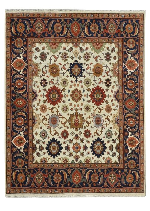 Hand-Knotted Red/Ivory Area Rug Rug Size: 9' x 12'