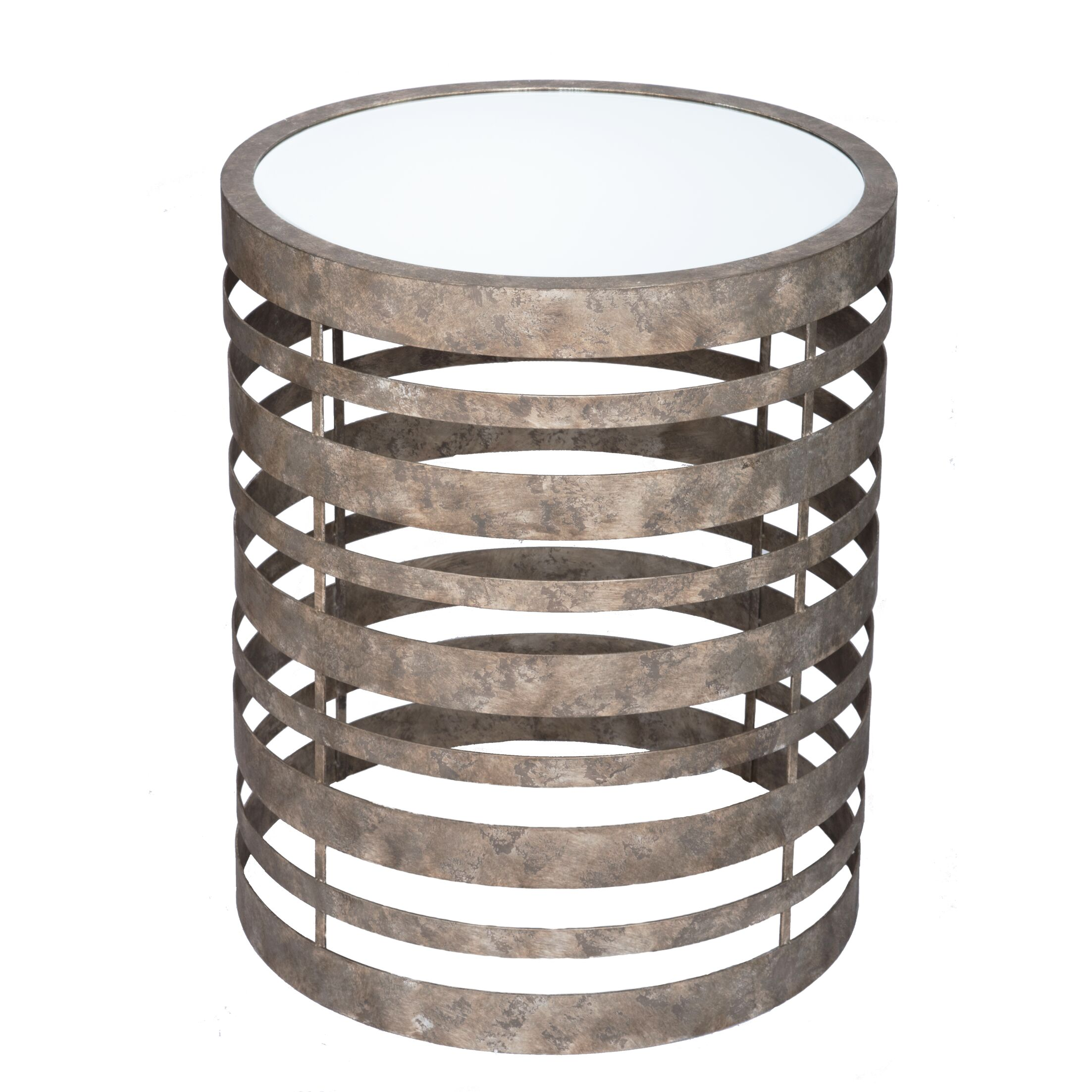 Levi Banded Mirrored End Table Color: Aged Silver