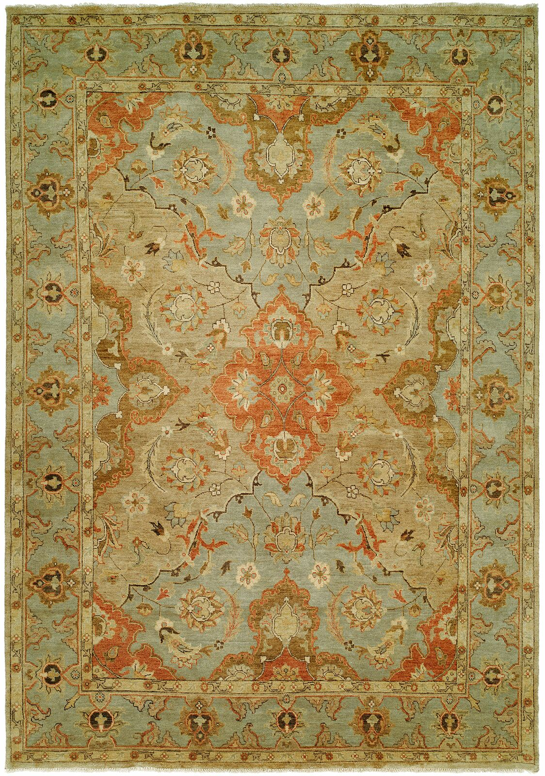Sai Hand-Knotted Brown/Blue Area Rug Rug Size: Rectangle 11' x 16'