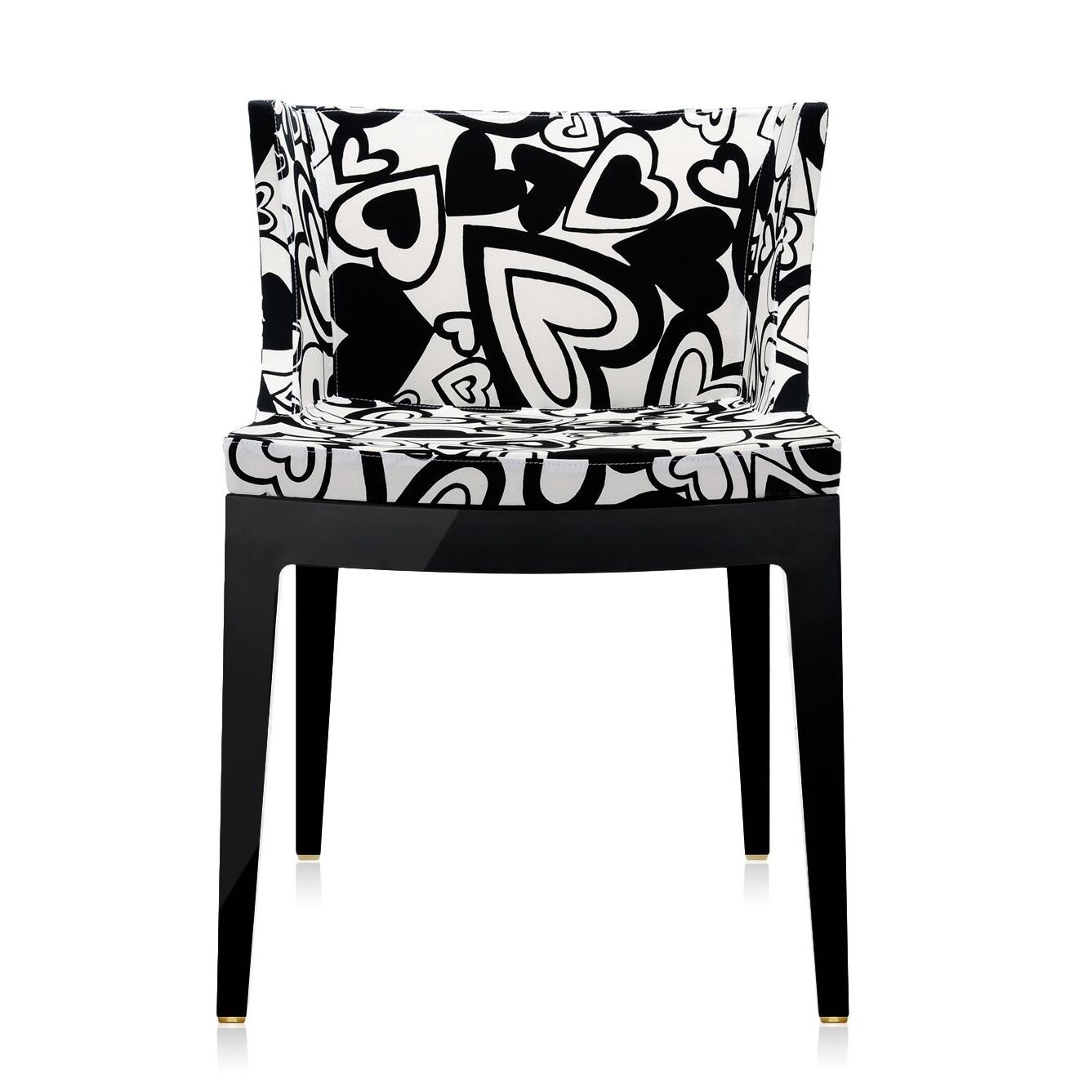Mademoiselle Chair Frame Finish: Black, Upholstery: Black Hearts