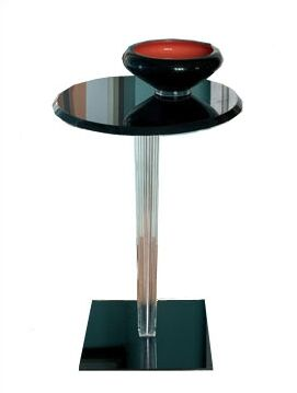 Top Top End Table Leg Style: Square Pleated, Top: Round, Color: Glossy White