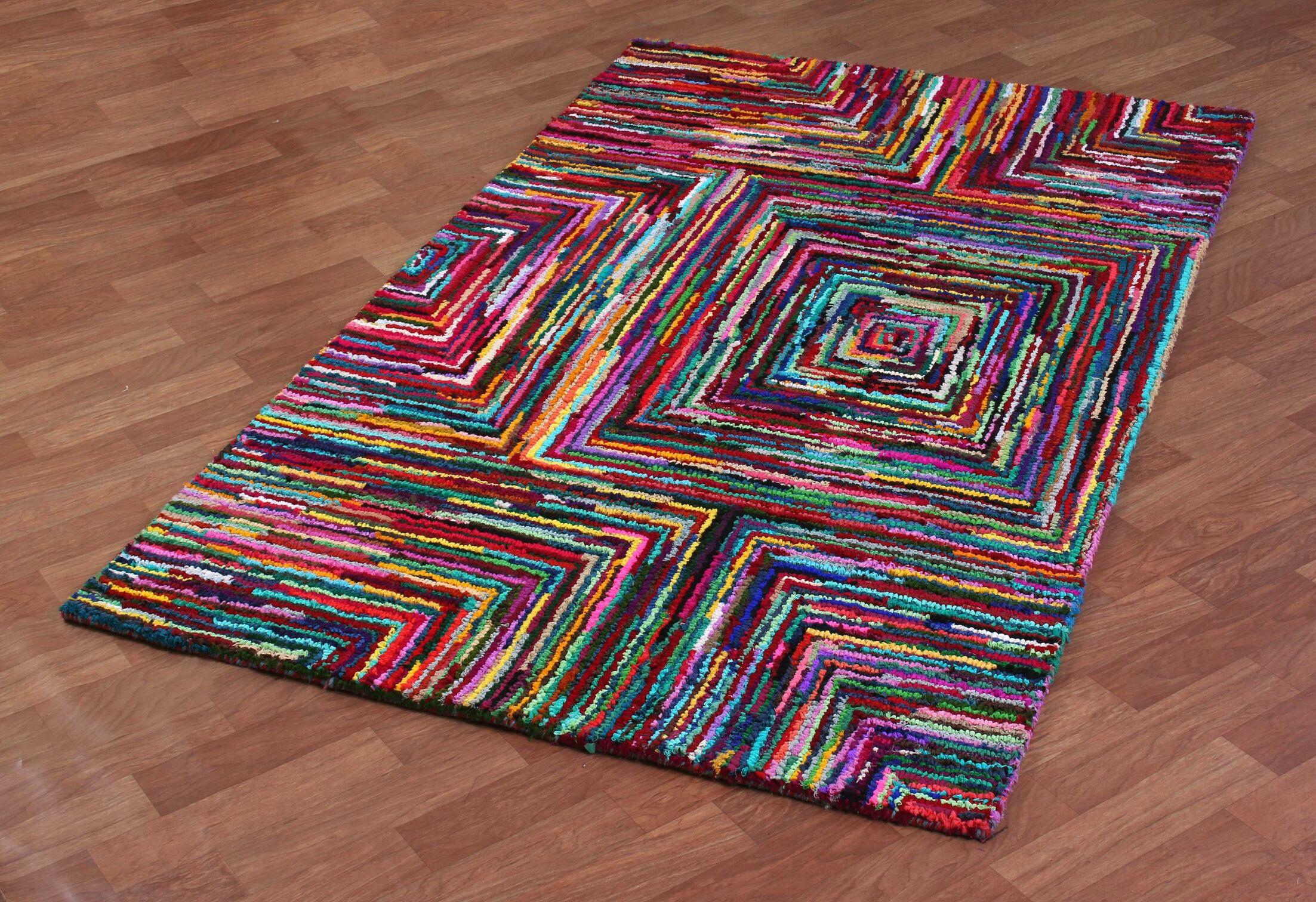 Brilliant Ribbon Hand Woven Cotton Multi-Colored Area Rug Rug Size: 5' x 8'