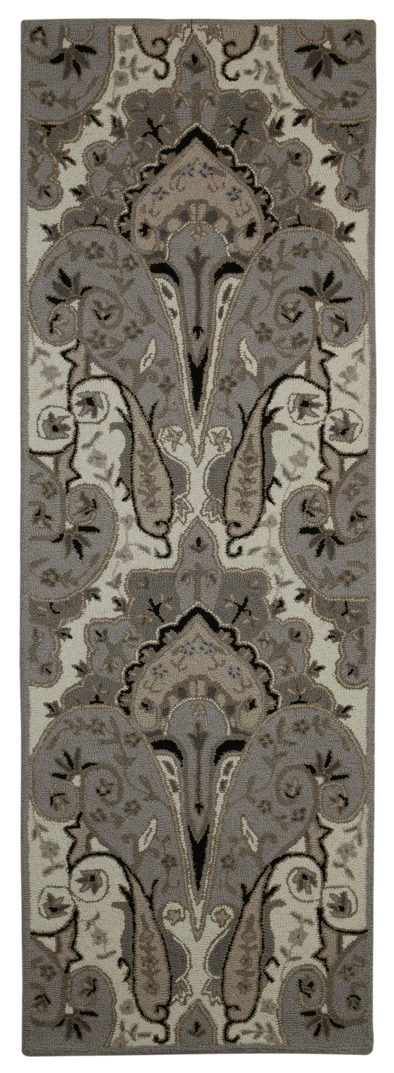 Structure Hand-Tufted Silver Area Rug Rug Size: Runner 2'6