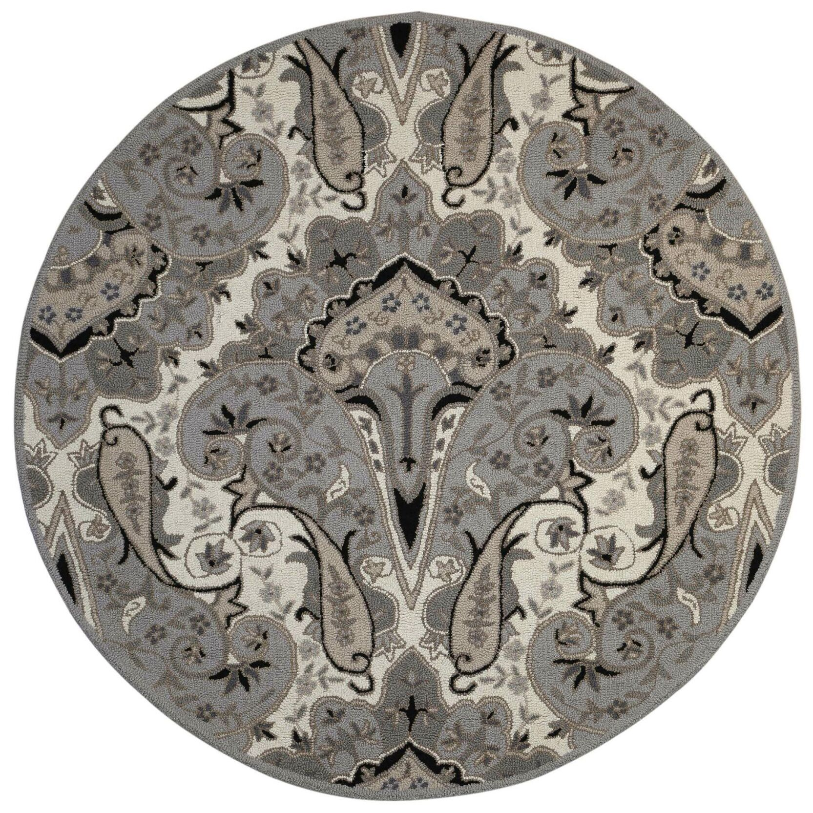 Structure Hand-Tufted Silver Area Rug Rug Size: Round 6'