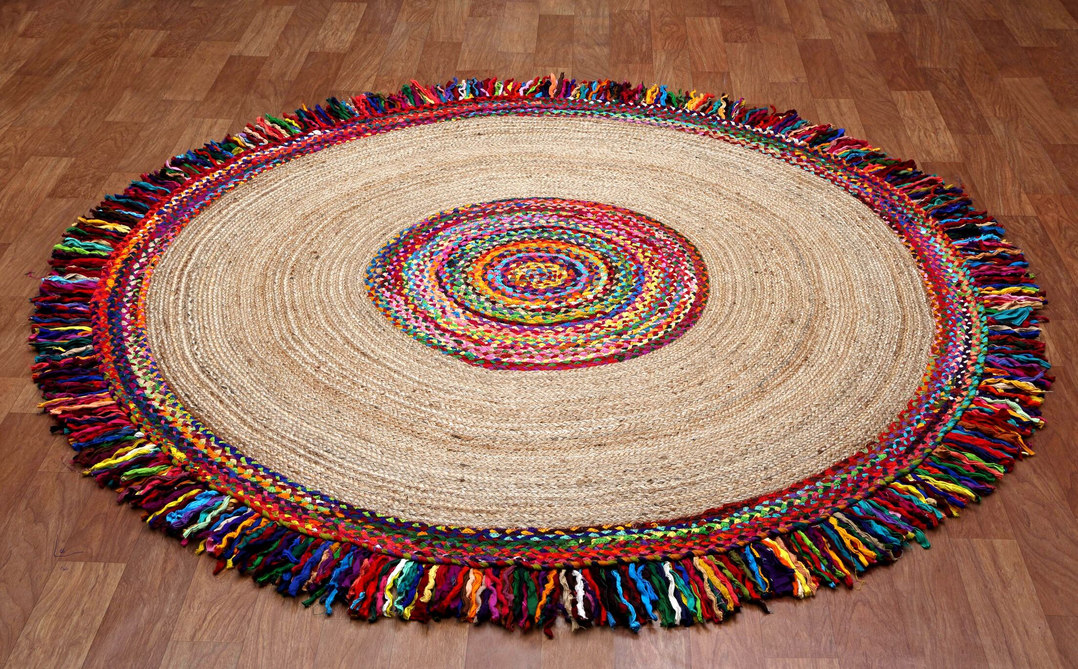 Brilliant Ribbon Round Racetrack Hand-Loomed Yellow/Red Area Rug Rug Size: Round 8'