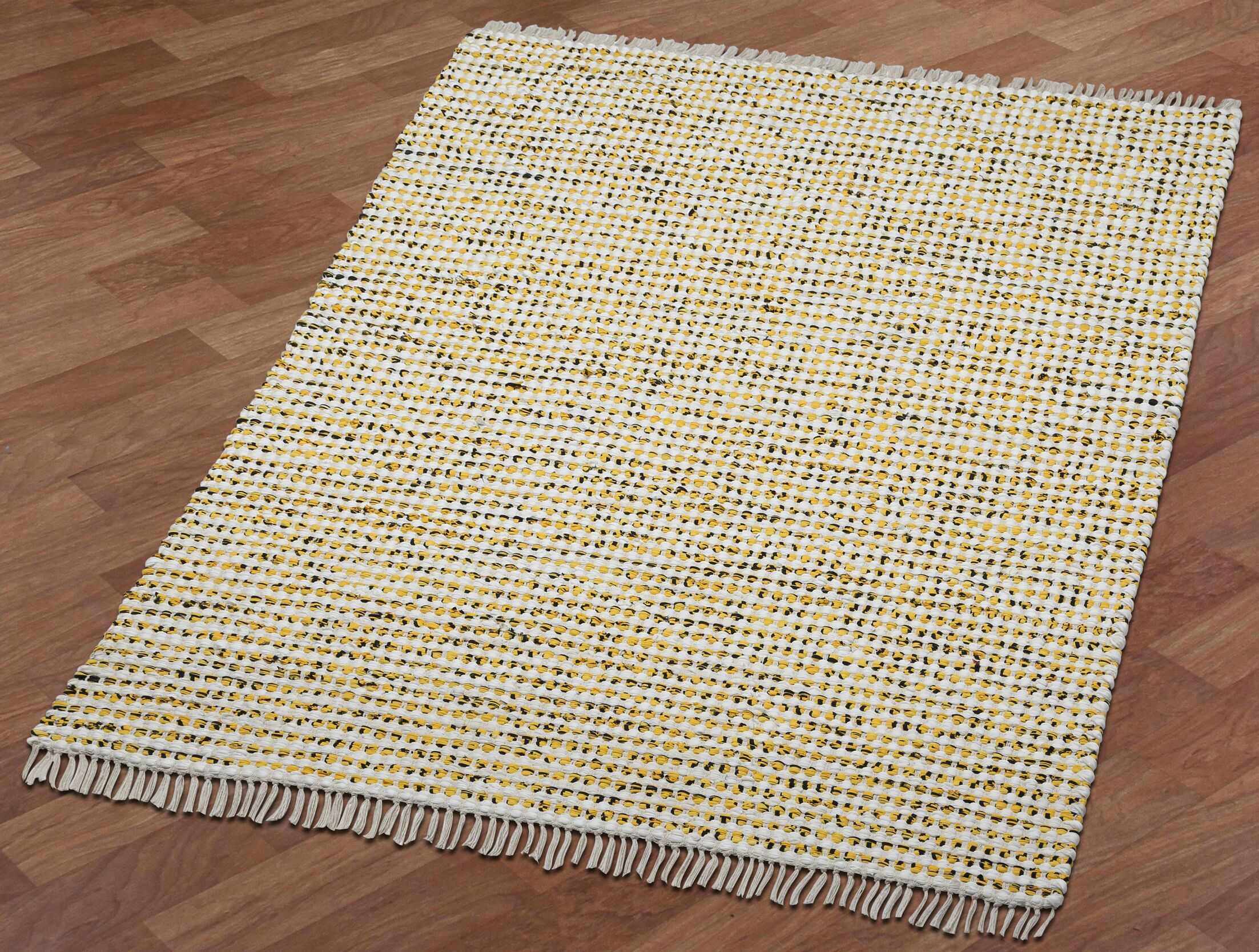 Complex Hand-Loomed Yellow Area Rug Rug Size: 4' x 6'