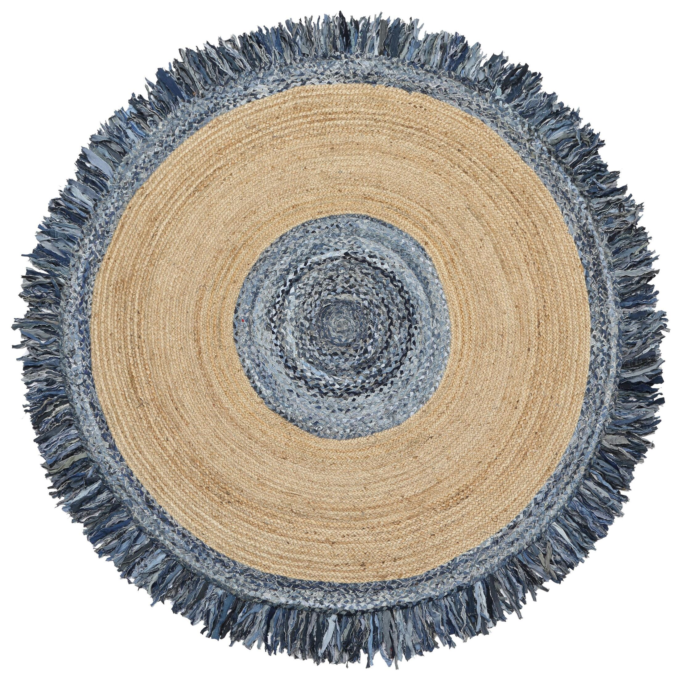 Latour Round Racetrack Hand-Loomed Blue/Gray Area Rug Rug Size: Round 8'