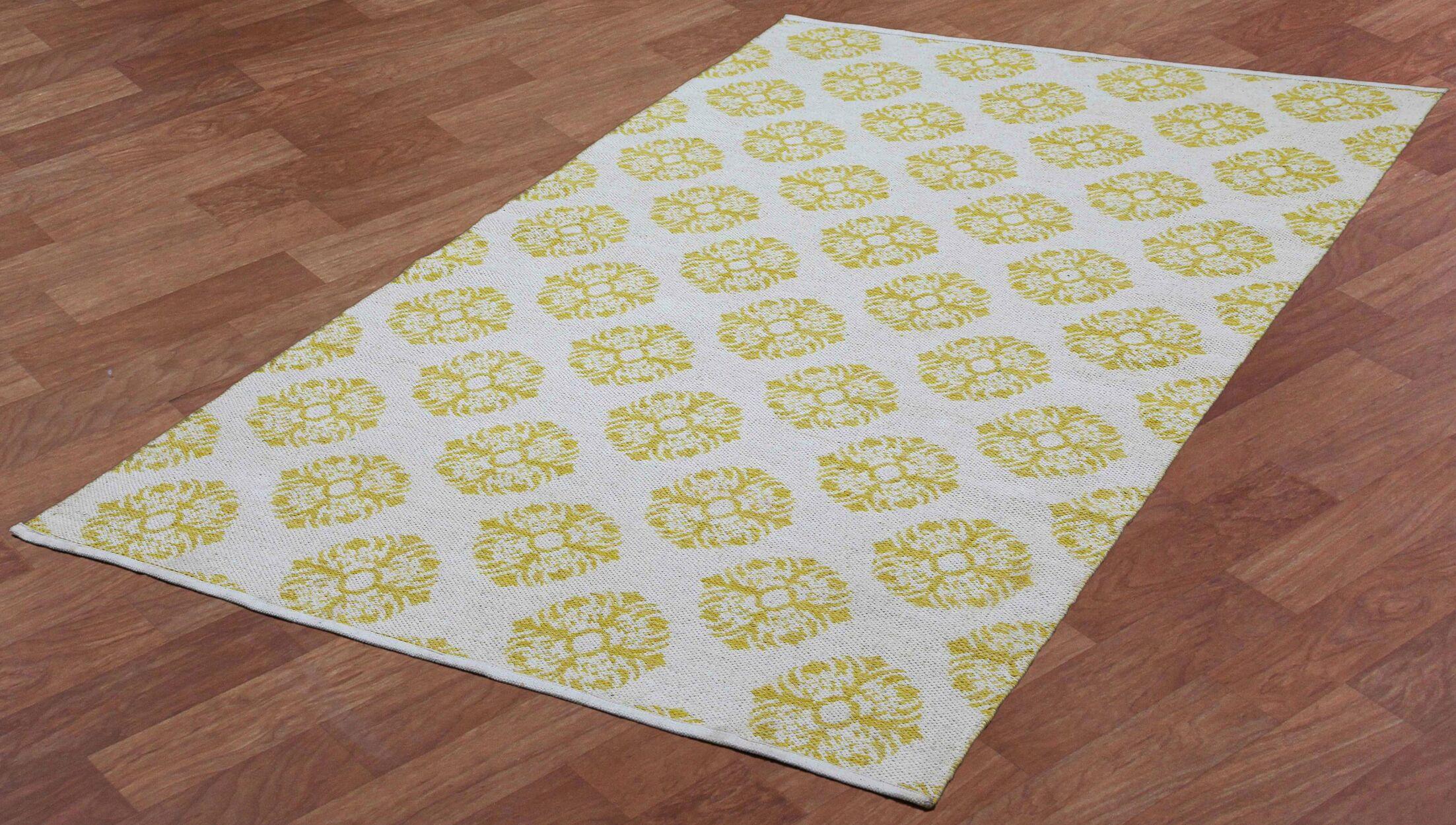 Jacquard Handmade Yellow Area Rug Rug Size: 5' x 8'
