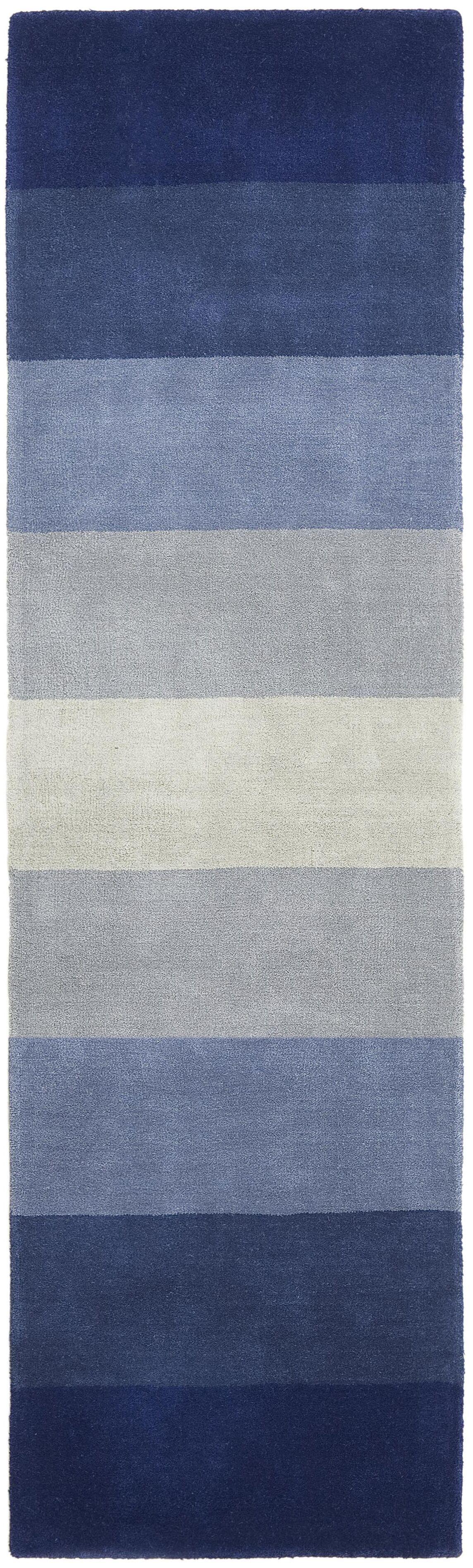 Degarmo Blue Stripes Area Rug Rug Size: Runner 2'6