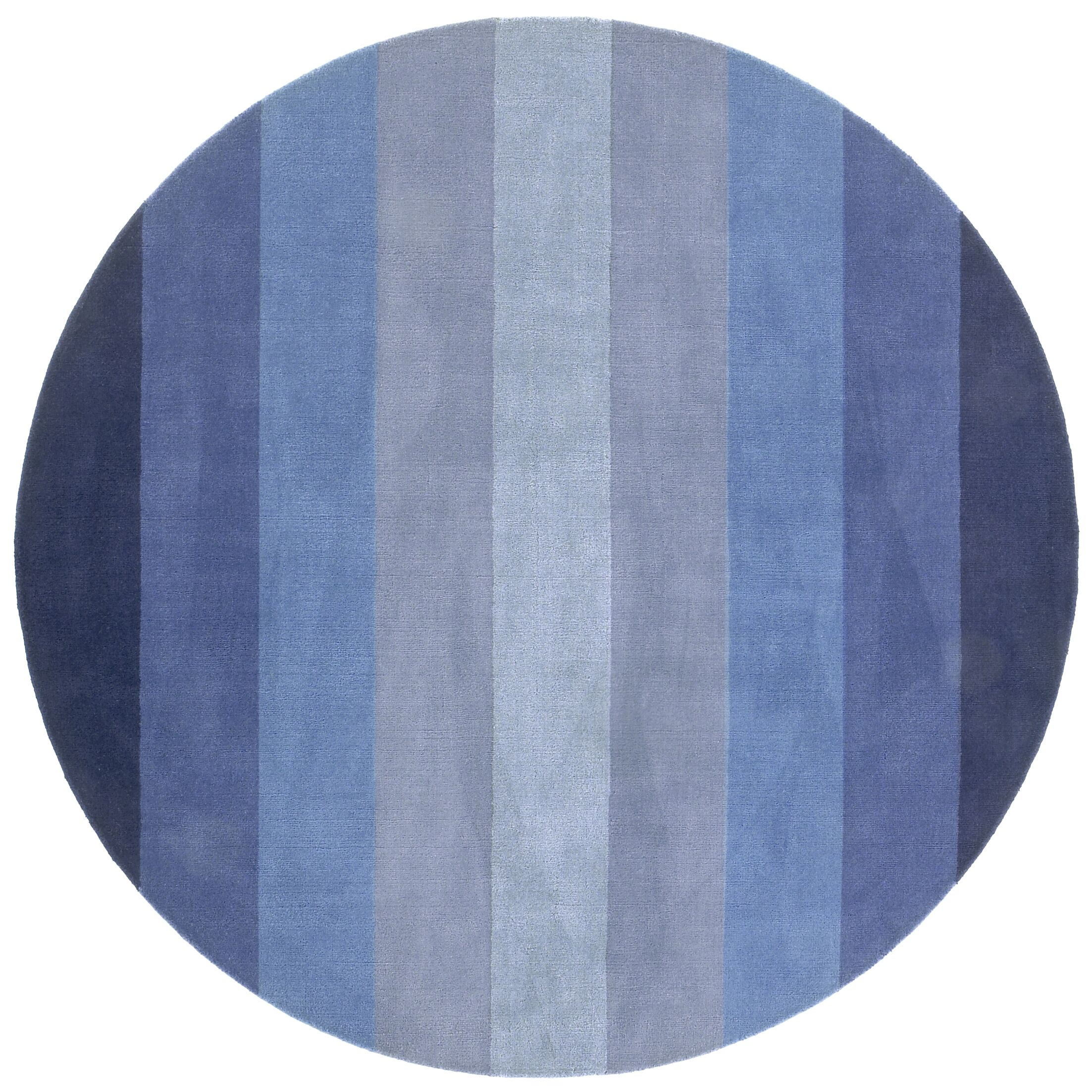 Degarmo Blue Stripes Area Rug Rug Size: Round 8'