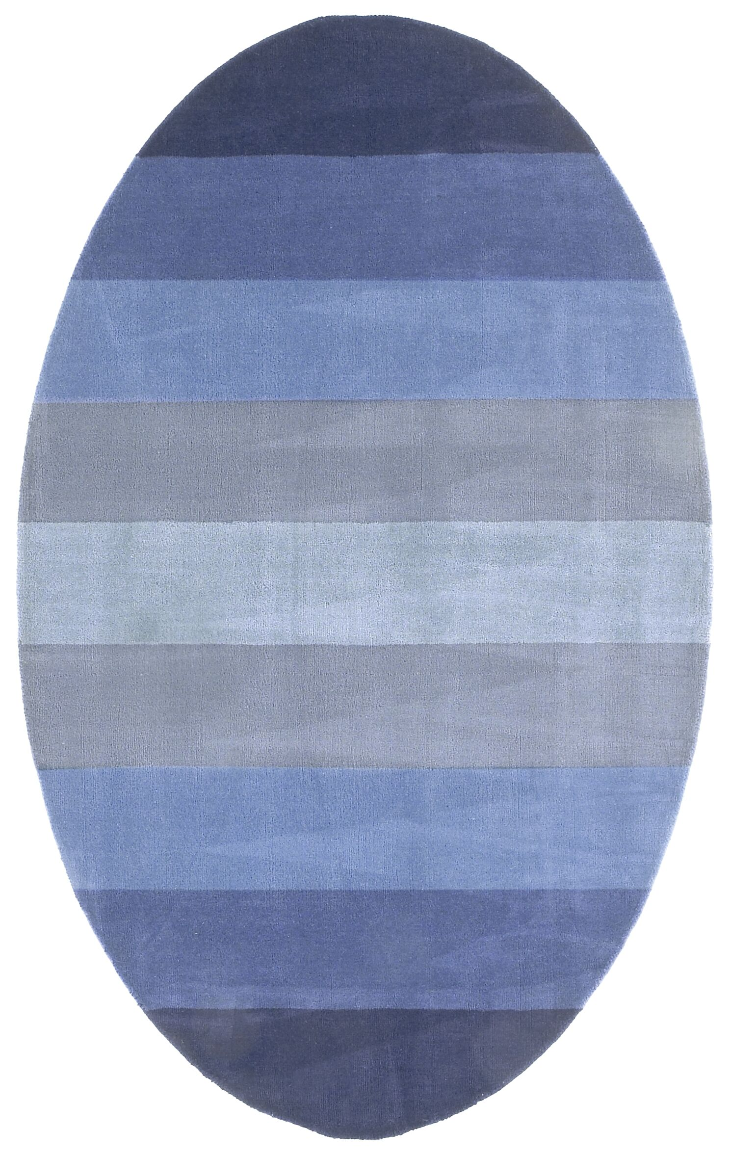Degarmo Blue Stripes Area Rug Rug Size: Oval 5' x 8'