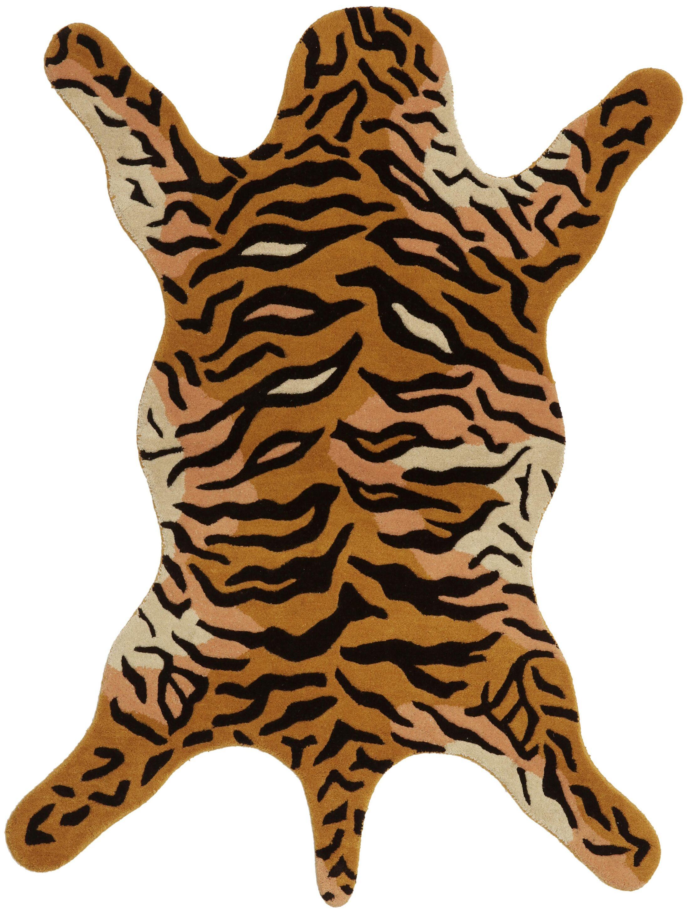 Safari Orange Tiger Area Rug Rug Size: 4' x 6'