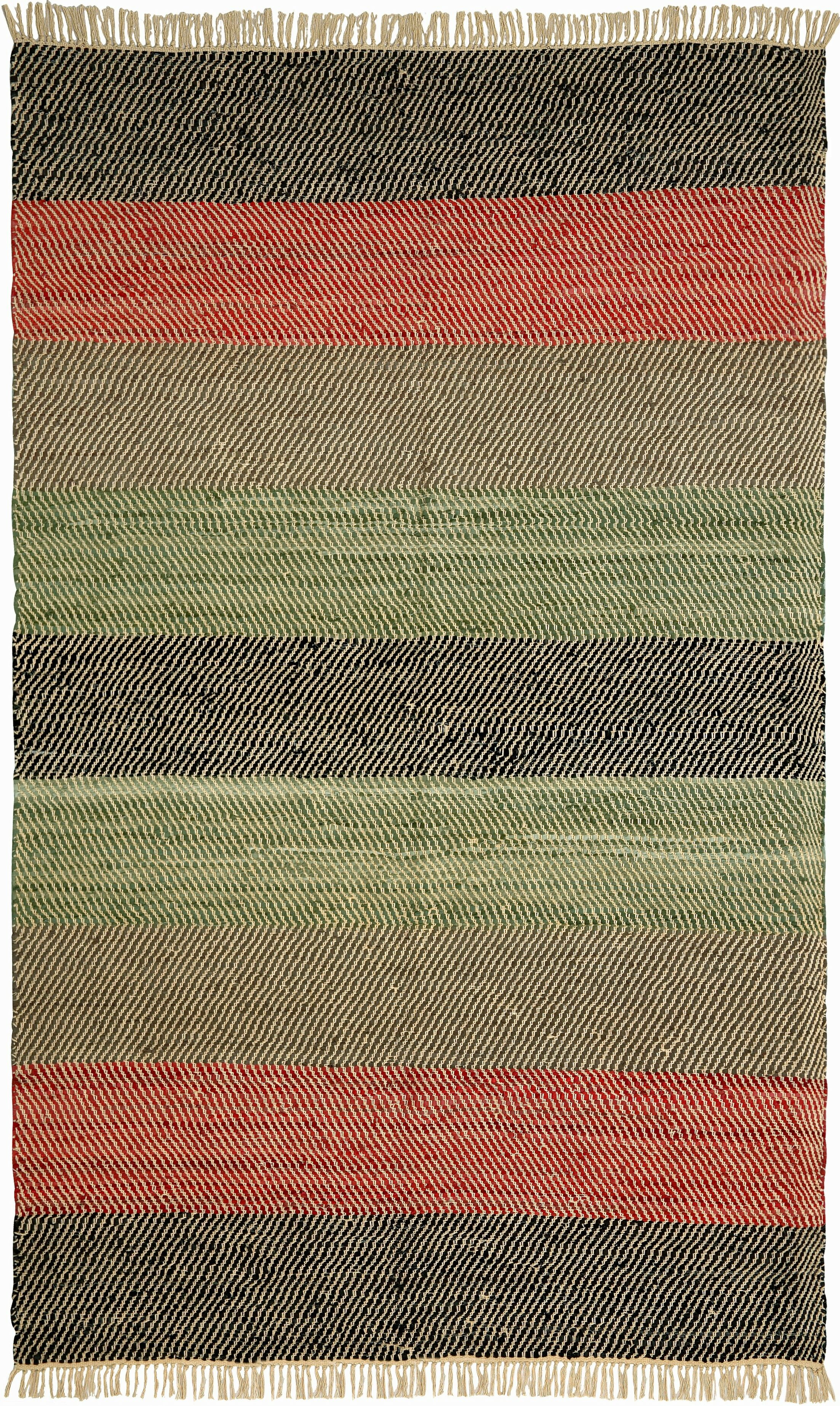 Matador Striped Leather Chindi Black Area Rug Rug Size: Runner 2'5