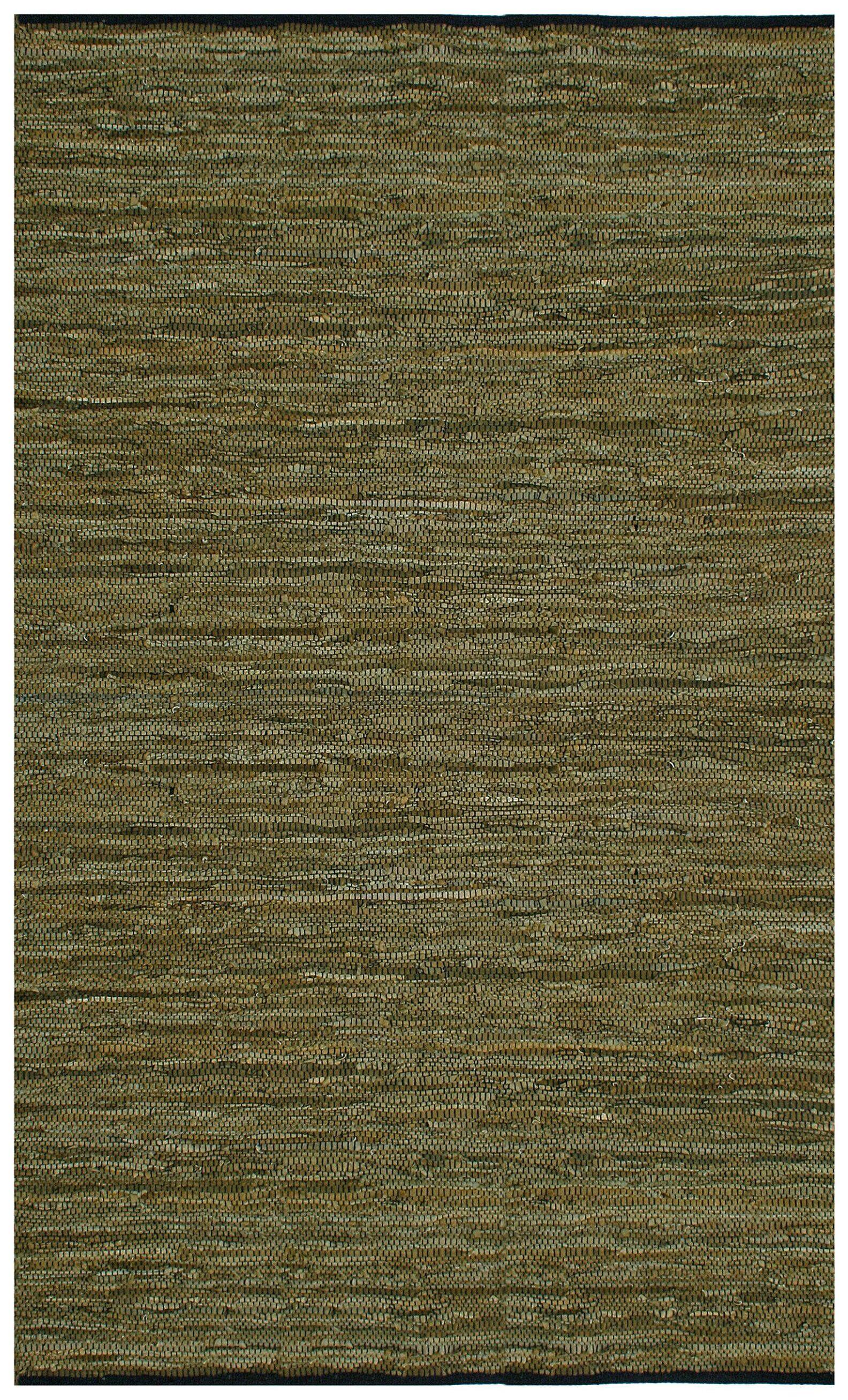 Sandford Leather Chindi Green Rug Rug Size: 5' x 8'