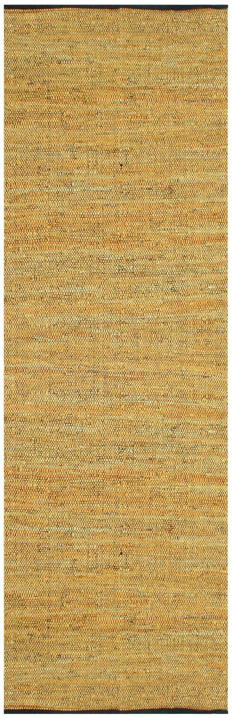 Sandford Leather Chindi Gold Area Rug Rug Size: Runner 2'6