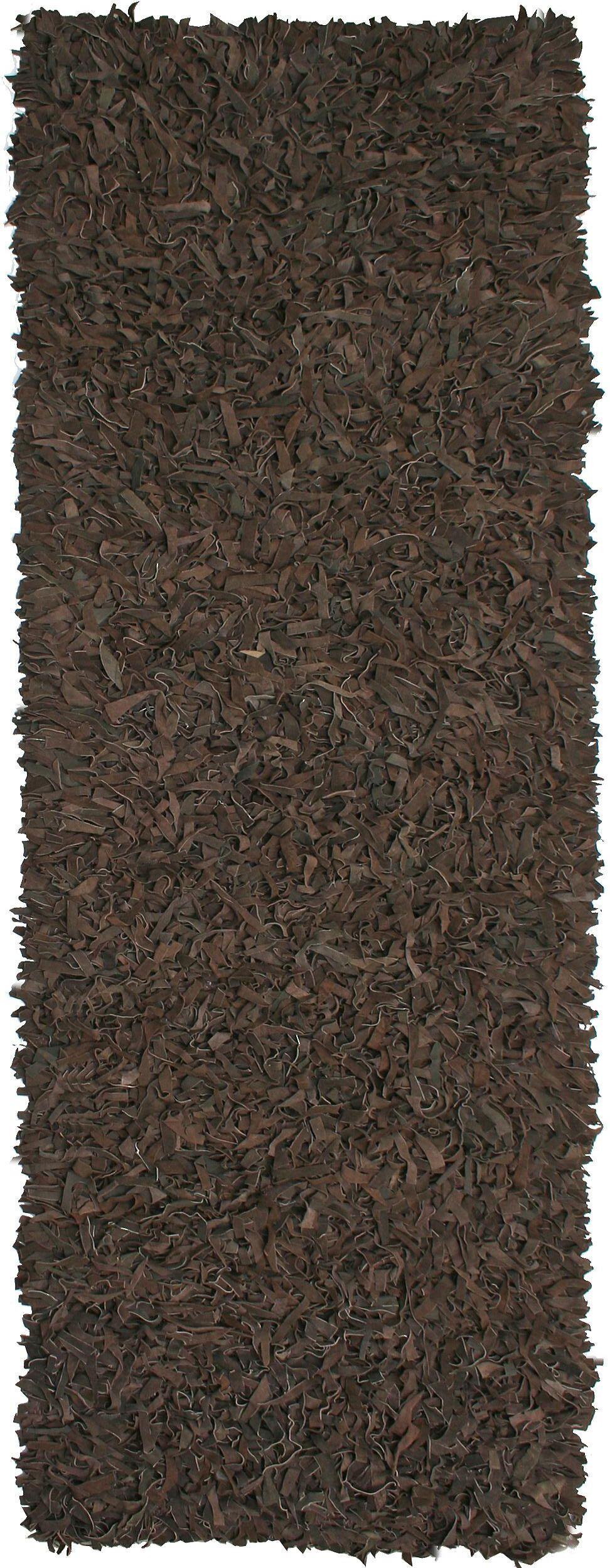 Baum Leather Dark Brown Area Rug Rug Size: Runner 2'6