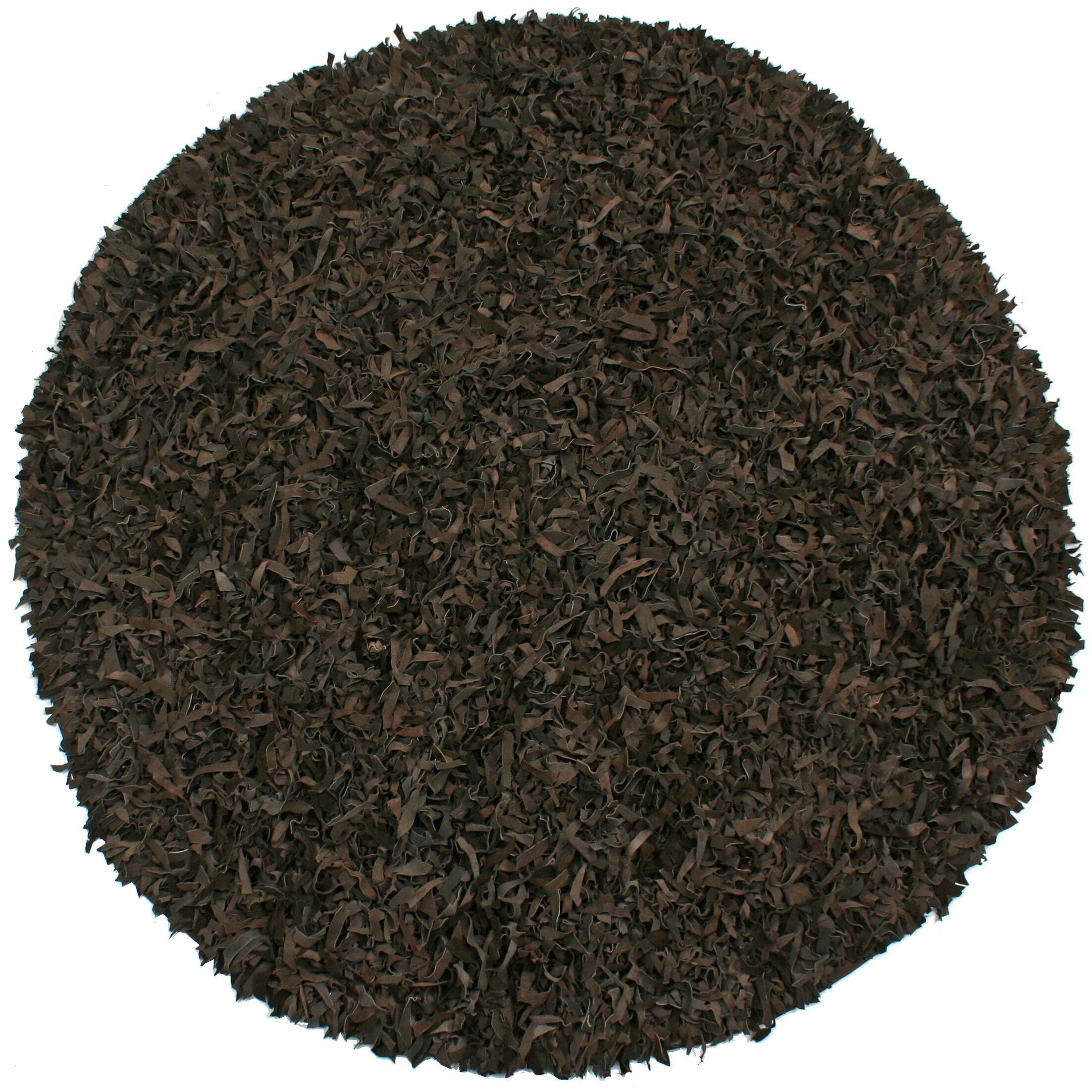 Baum Leather Dark Brown Area Rug Rug Size: Round 8'