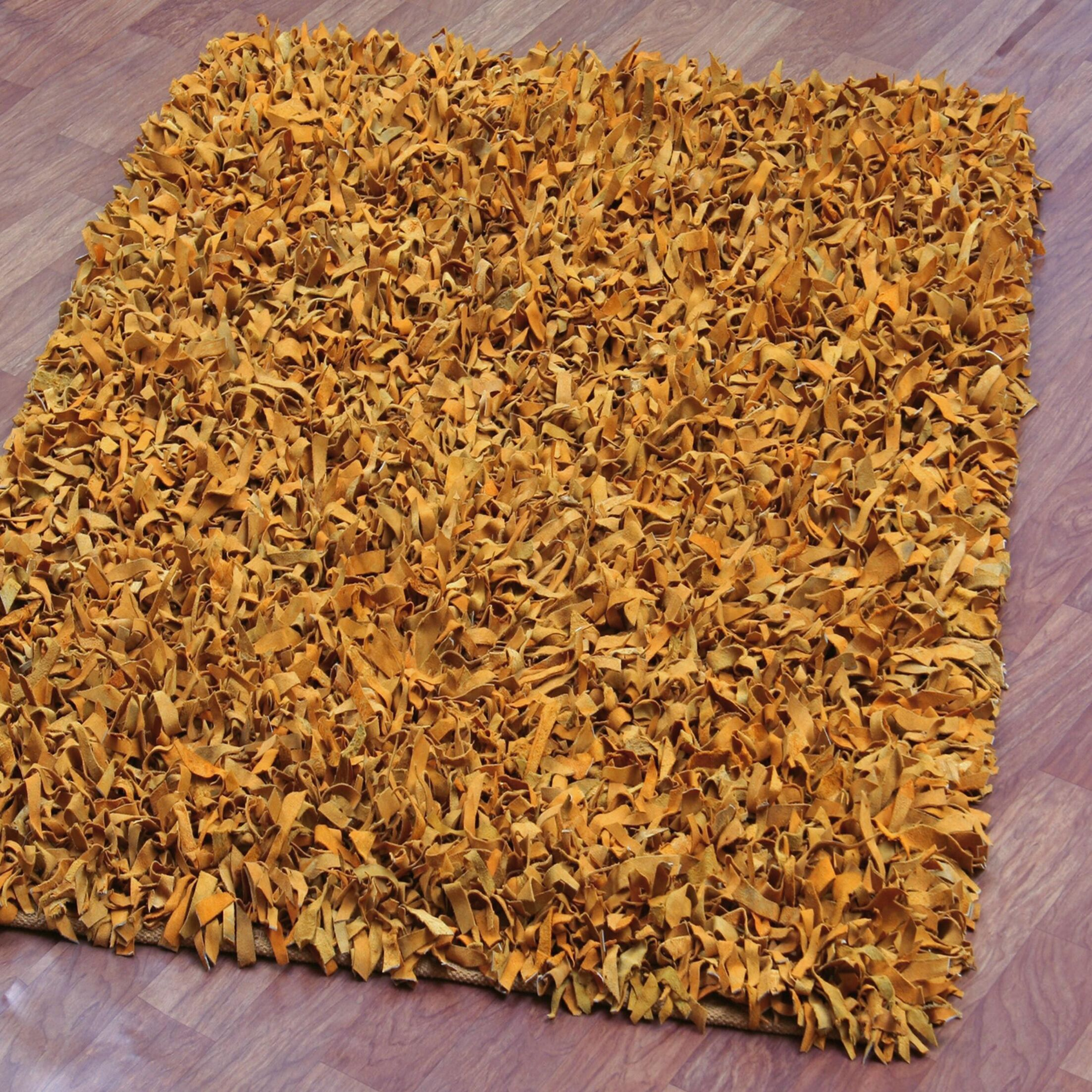Baum Leather Gold Area Rug Rug Size: Rectangle 8' x 10'