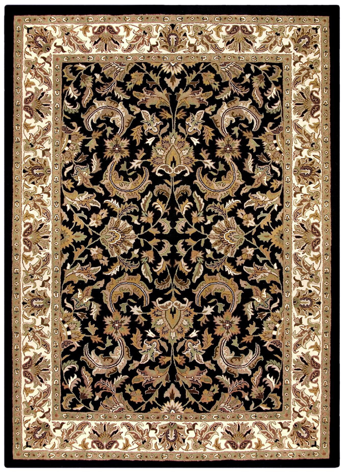 Traditions Isphan Black Rug Rug Size: Rectangle 8' x 11'