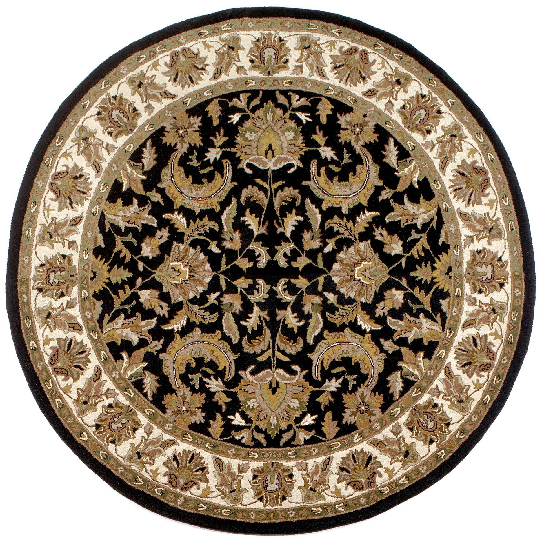 Traditions Isphan Black Rug Rug Size: Round 6'
