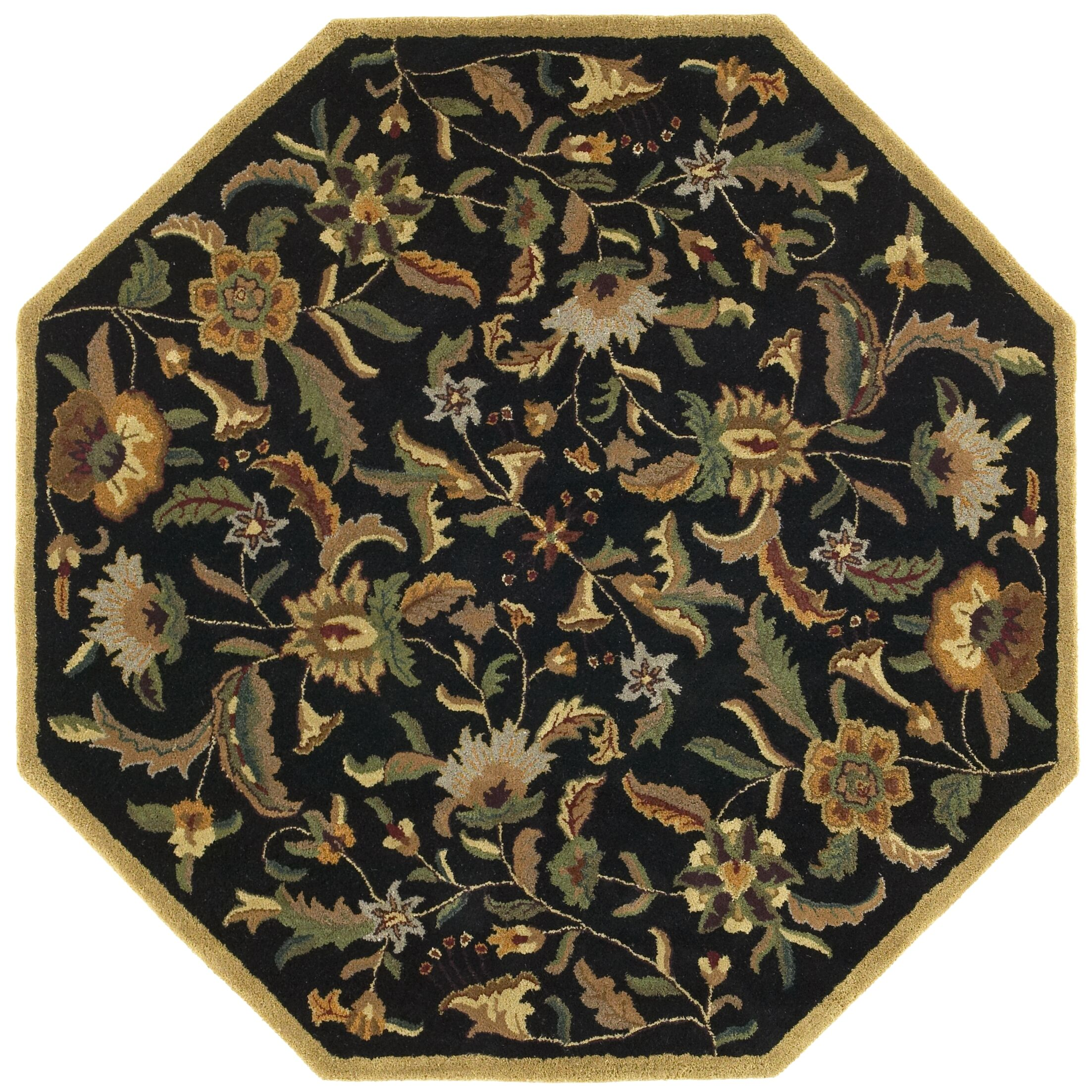 Traditions Paradise Black Rug Rug Size: Octagon 6'