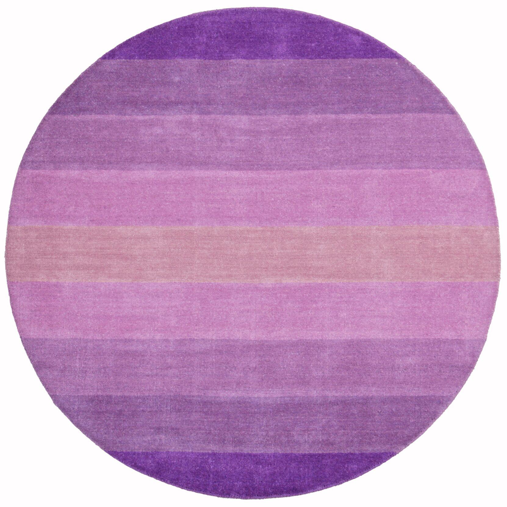 Degarmo Purple Stripes Area Rug Rug Size: Round 6'