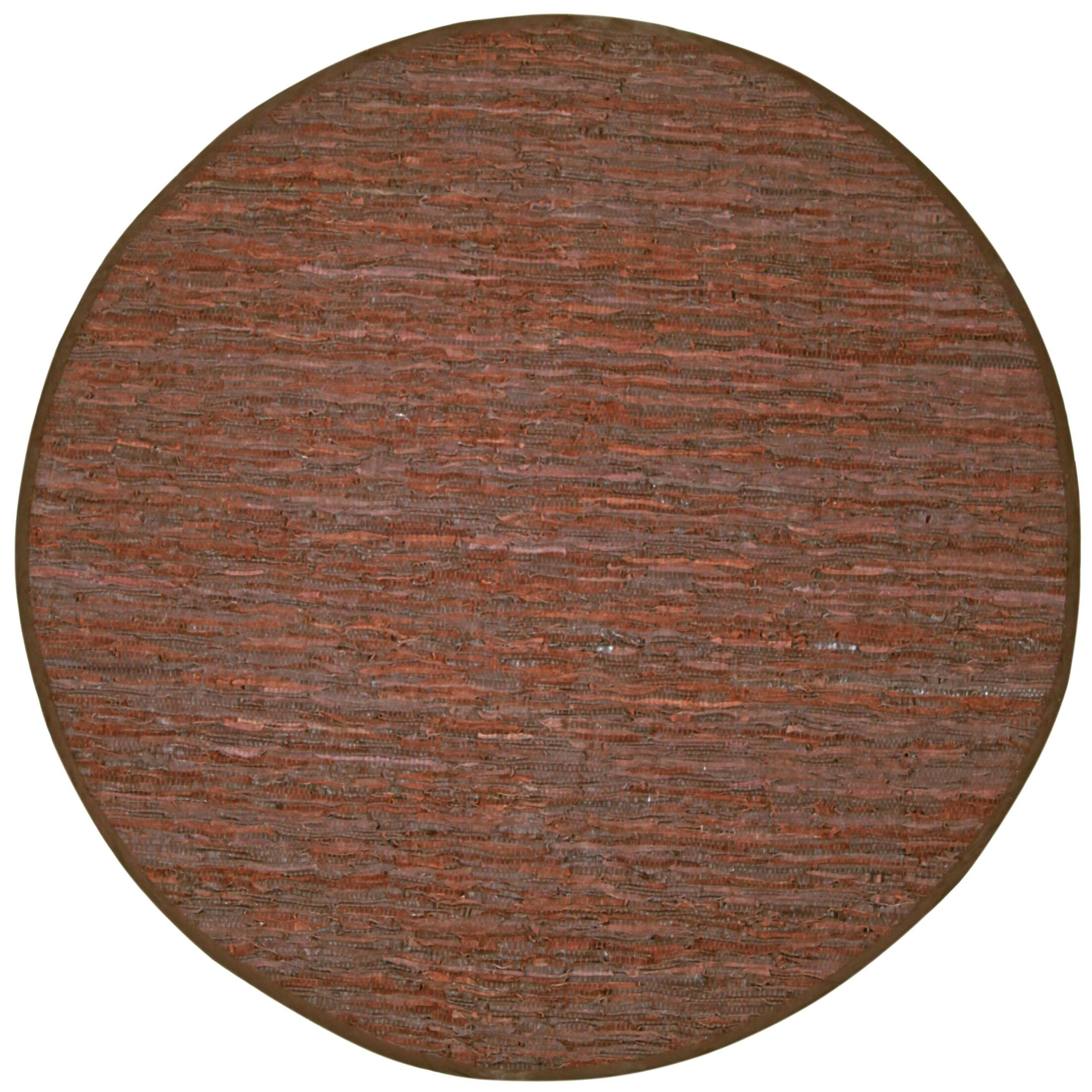 Sandford Leather Chindi Rust Area Rug Rug Size: Round 8'