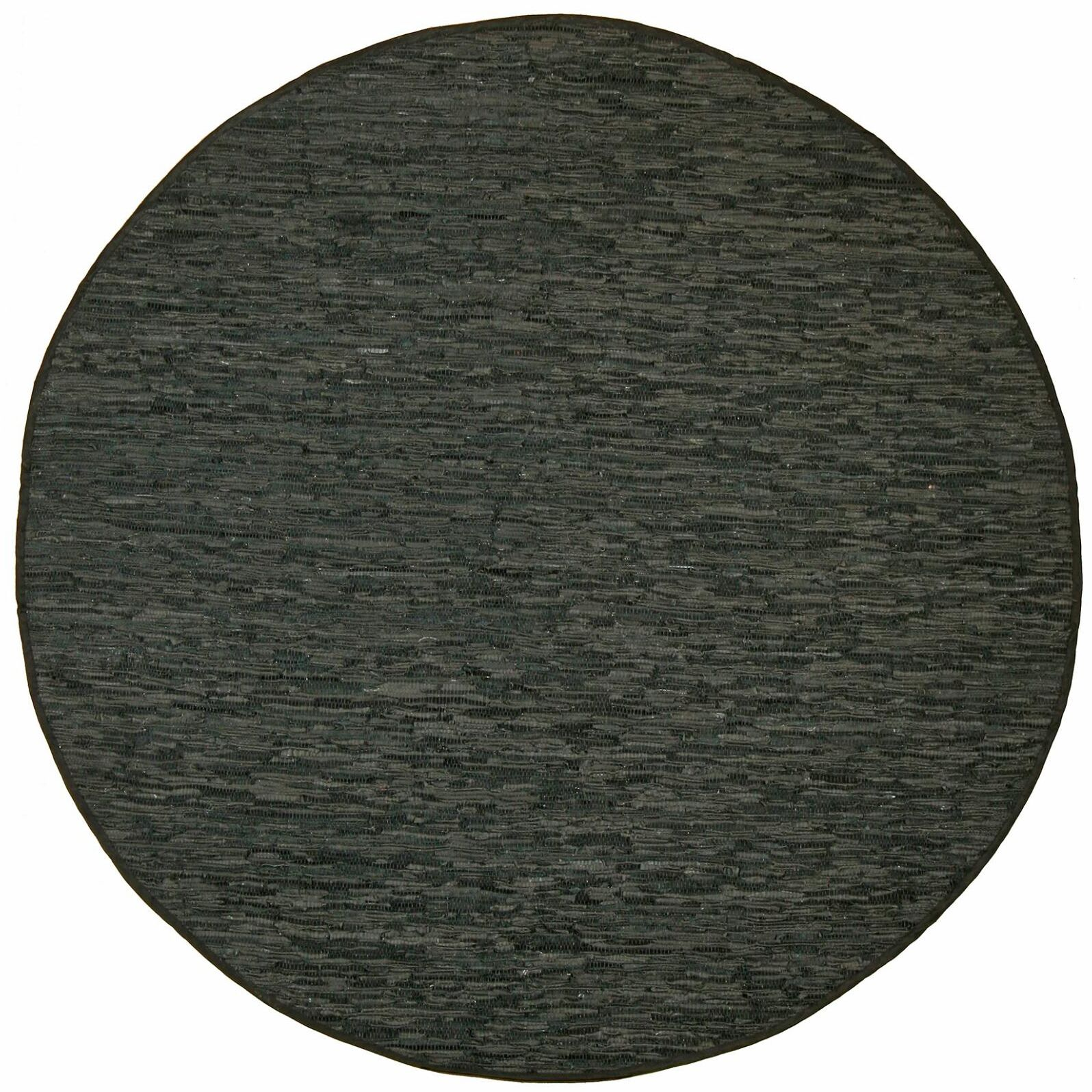 Sandford Leather Chindi Green Area Rug Rug Size: Round 6'