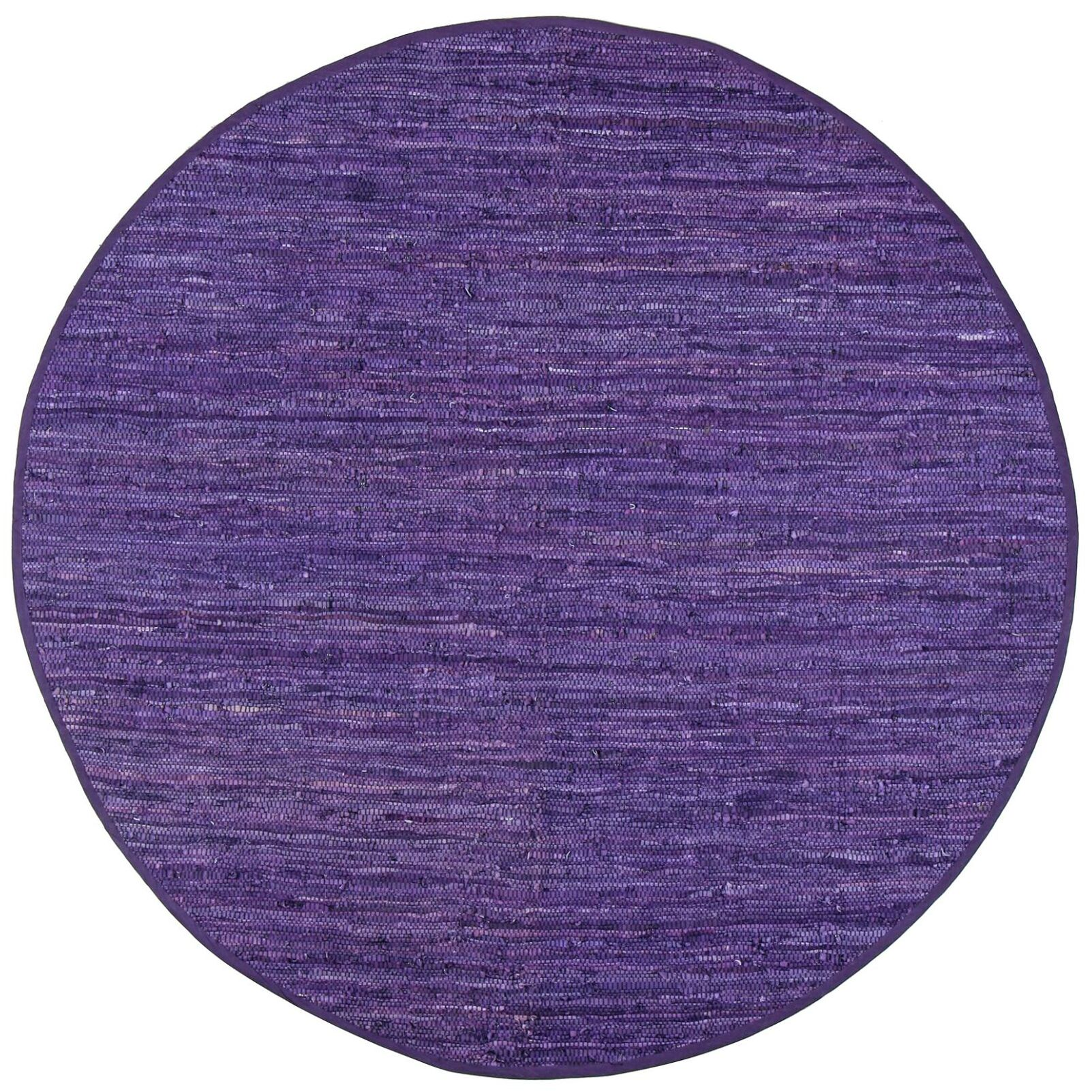 Sandford Chindi Hand Woven Cotton Purple Area Rug Rug Size: Round 6'