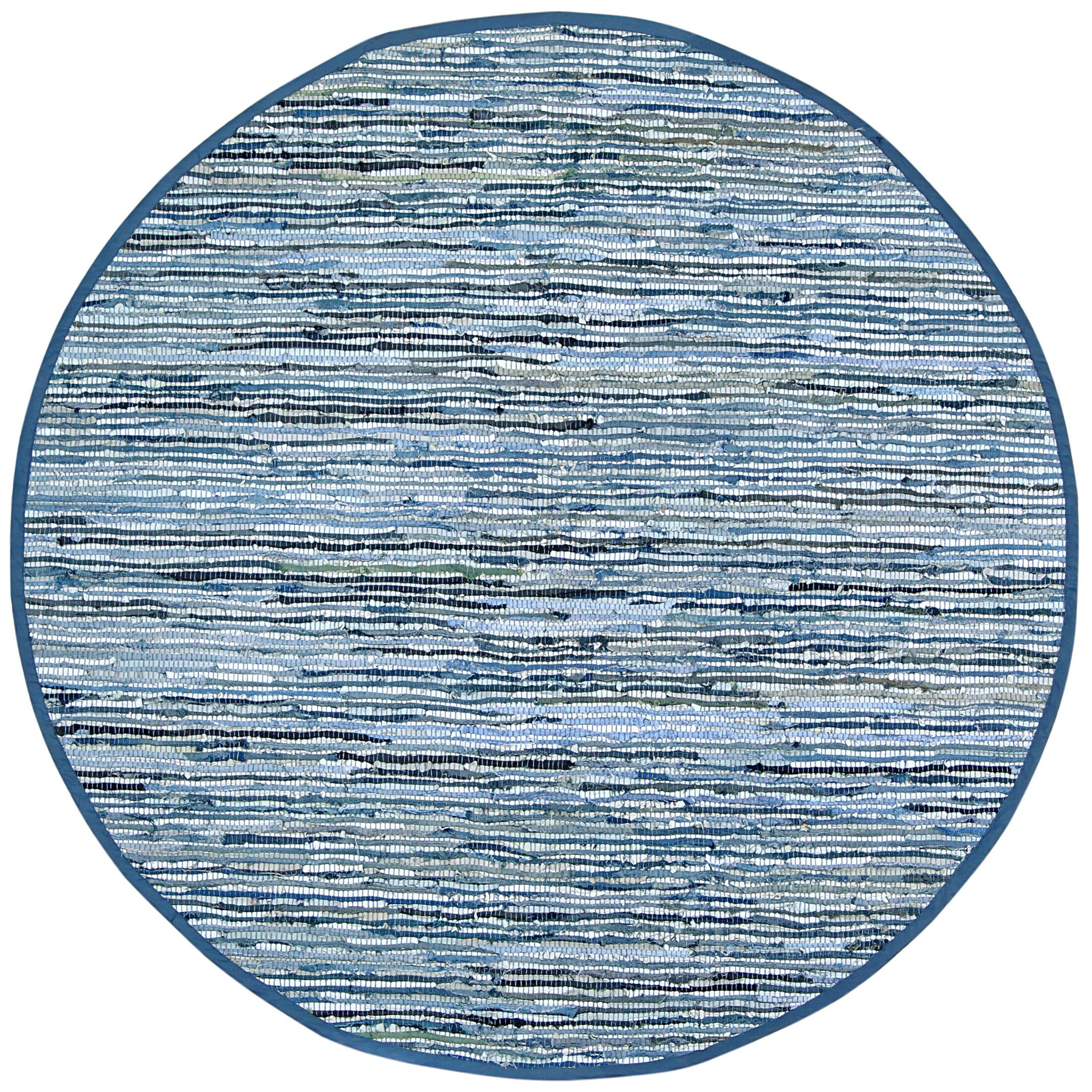 Sandford Dhurry Hand Woven Cotton Blue Area Rug Rug Size: Round 6'